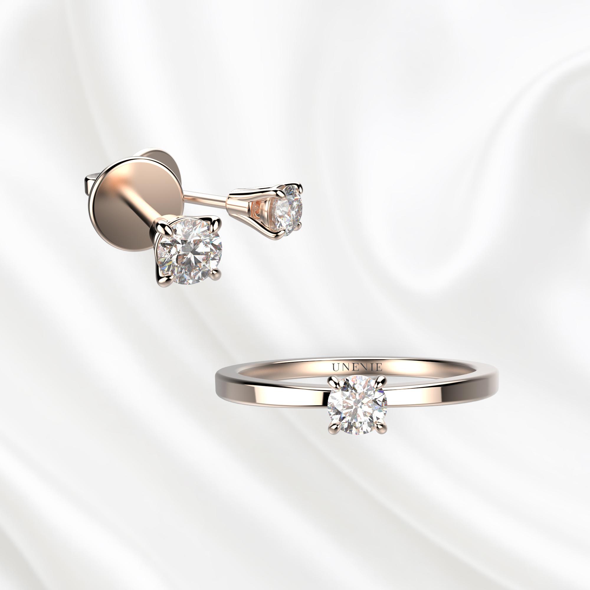 К1 Комплект ювелирных изделий из розового золота с бриллиантами 0.1 карат