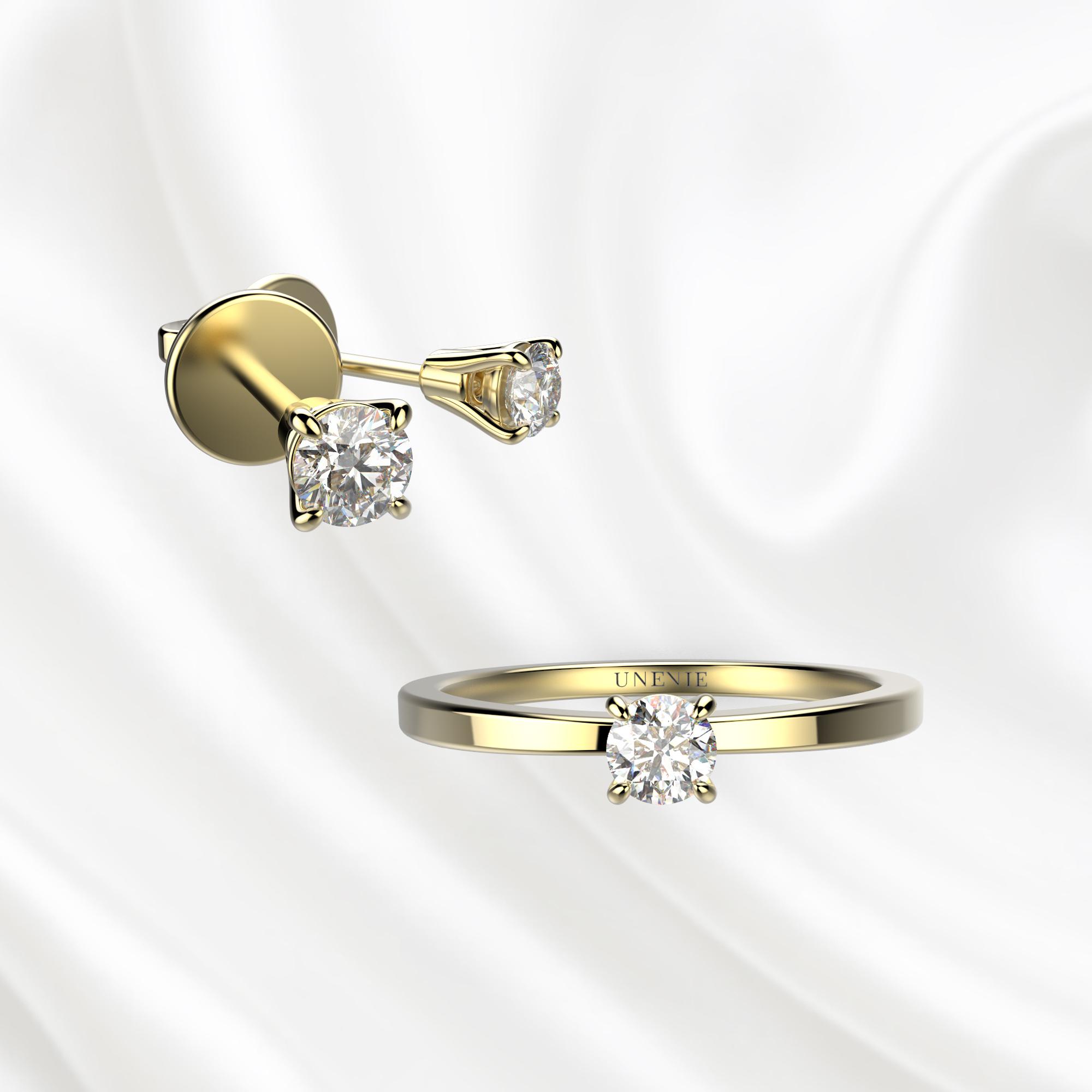 К1 Комплект ювелирных изделий из желтого золота с бриллиантами 0.1 карат