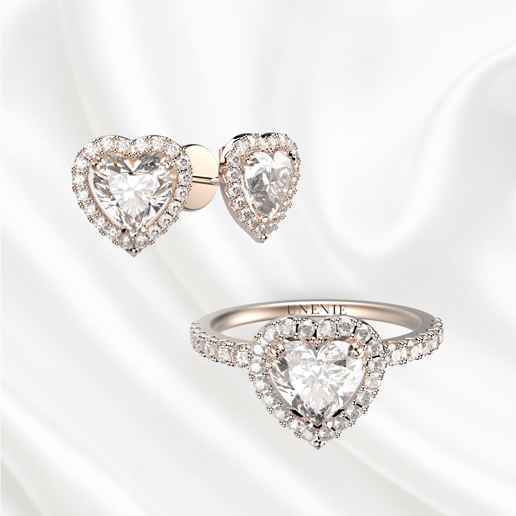 К2 Комплект ювелирных изделий из розового золота с бриллиантами сердце