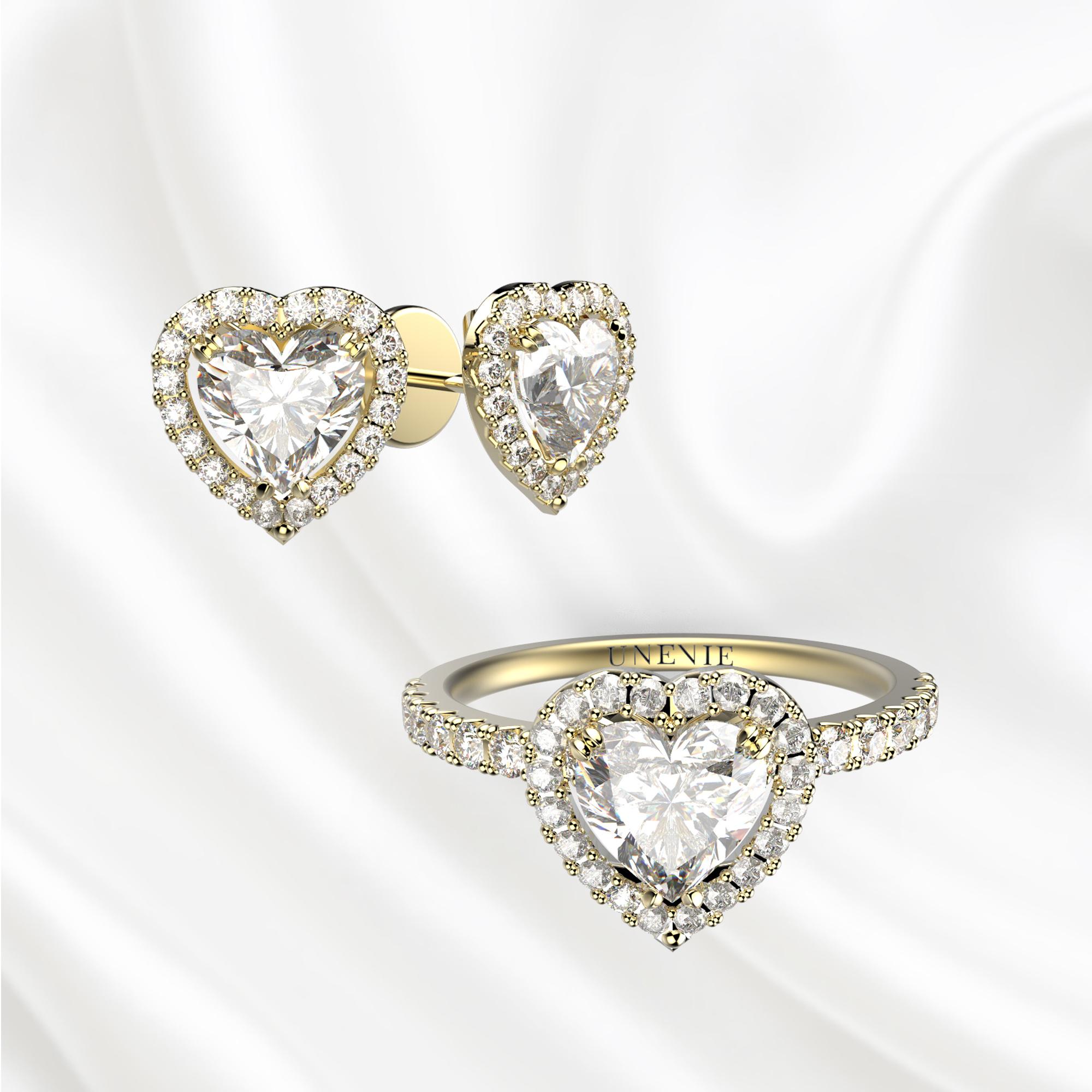 К2 Комплект ювелирных изделий из желтого золота с бриллиантами сердце