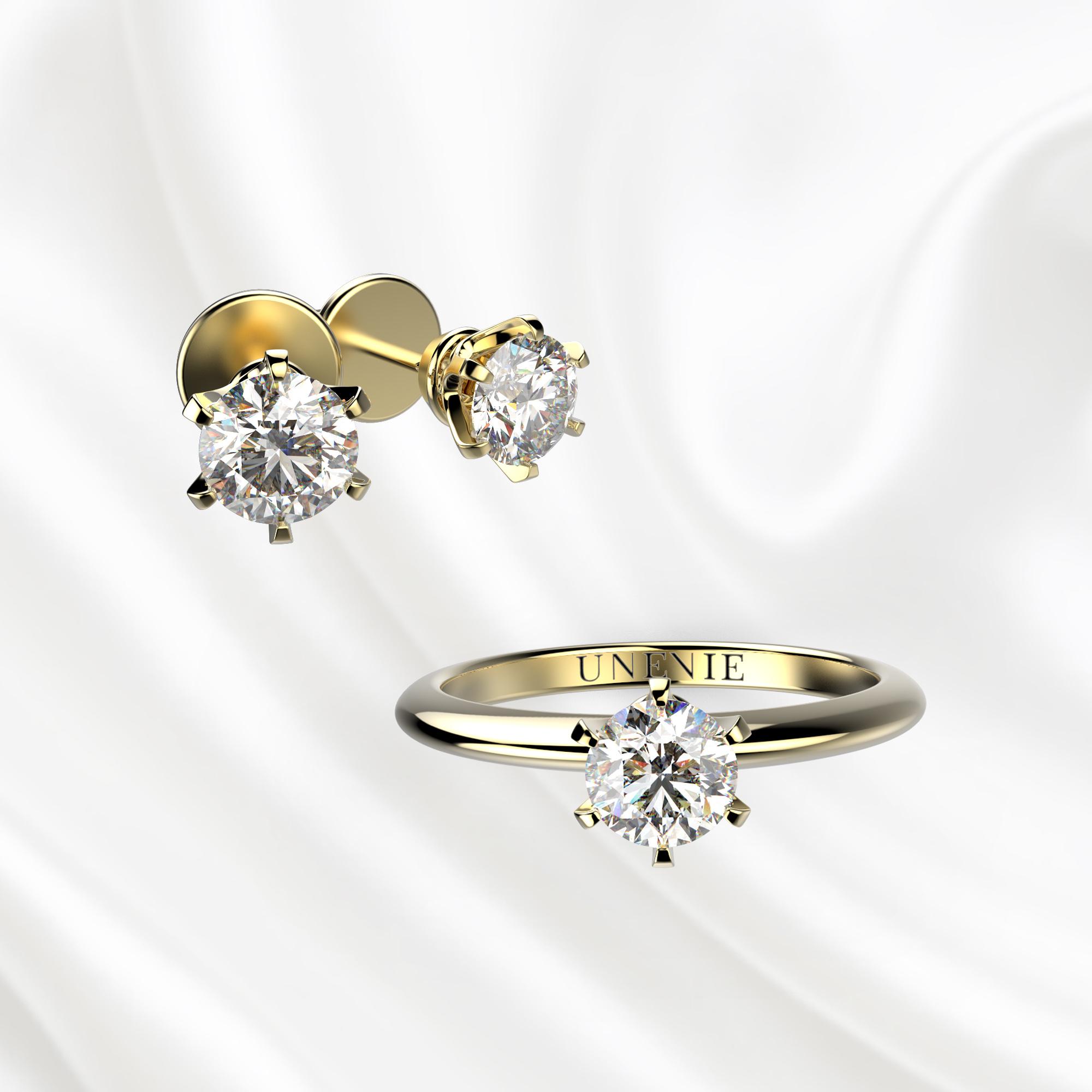 К3 Комплект ювелирных изделий из желтого золота с бриллиантами 0.3 карат
