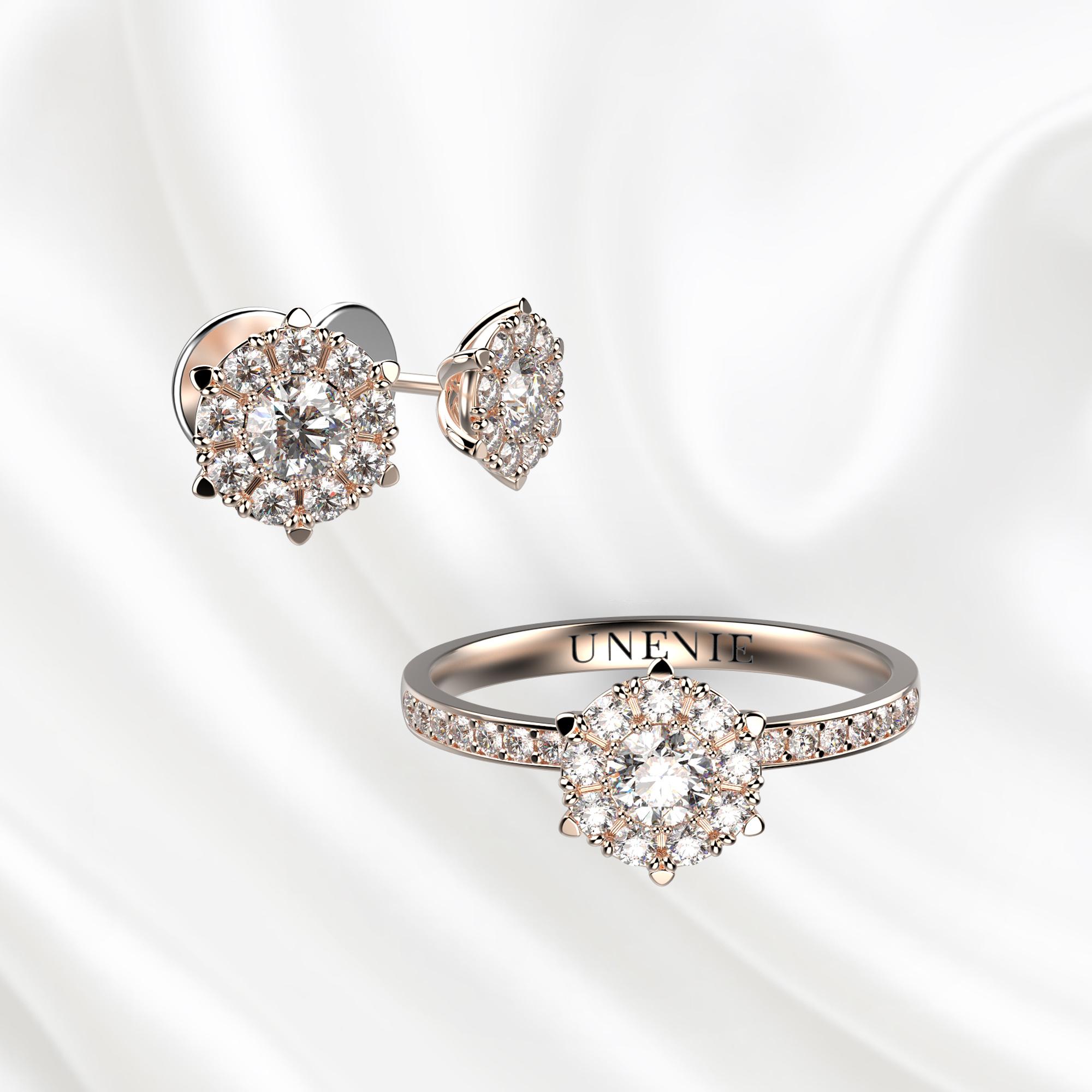 К4 Комплект ювелирных изделий из розового золота с бриллиантами
