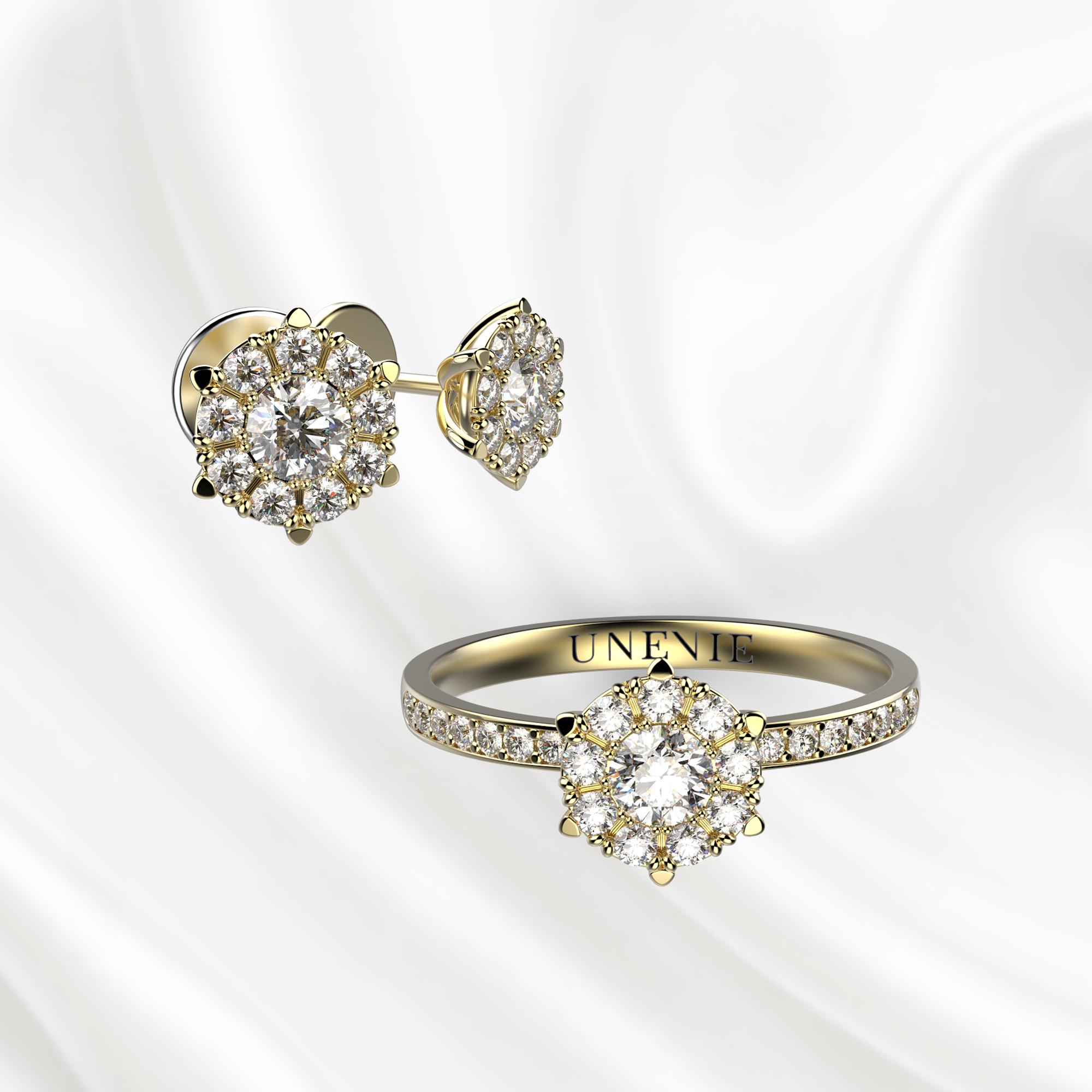 К4 Комплект ювелирных изделий серьги и кольцо из желтого золота с бриллиантами