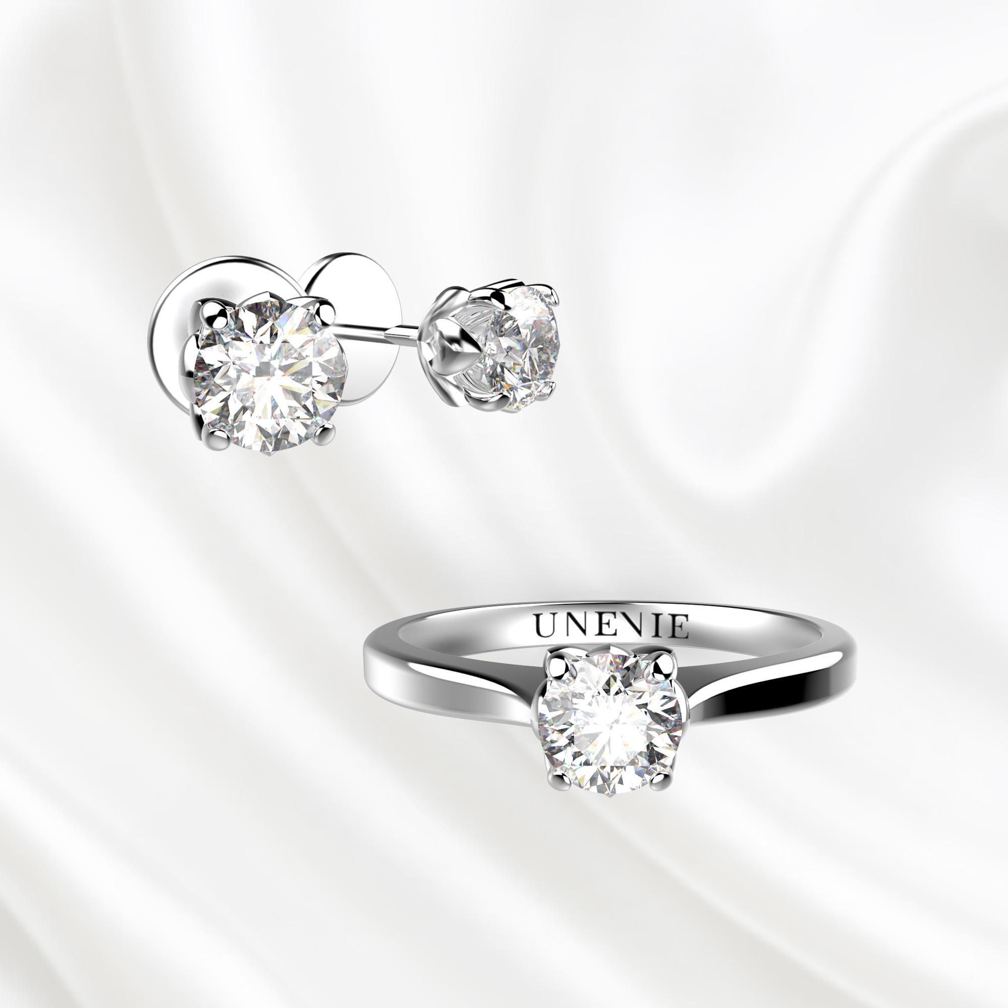 К5 Комплект ювелирных изделий серьги и кольцо из белого золота с бриллиантами 0.2 карат