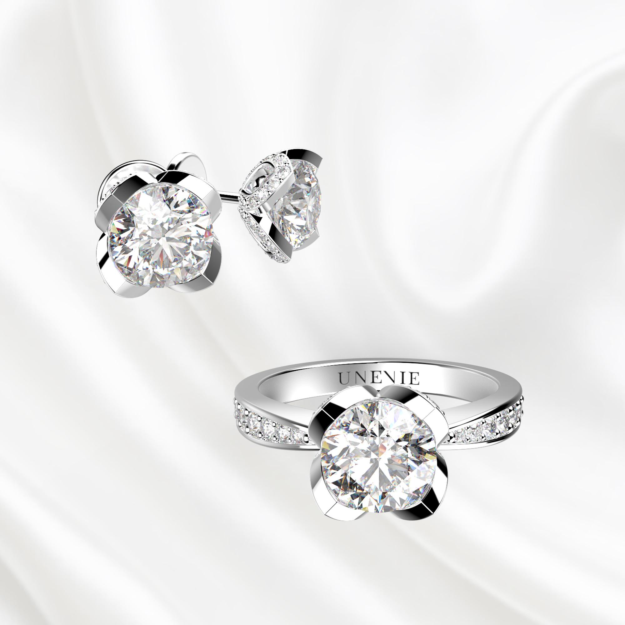 К6 Комплект ювелирных изделий серьги и кольцо из белого золота с бриллиантами 0.3 карат