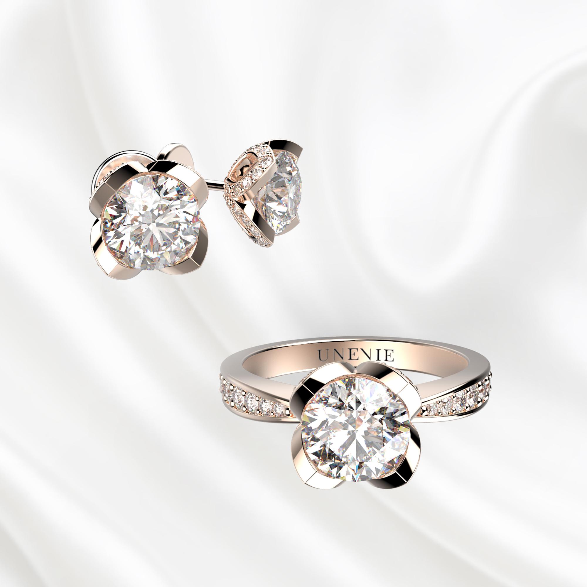 К6 Комплект ювелирных изделий серьги и кольцо из розового золота с бриллиантами 0.3 карат