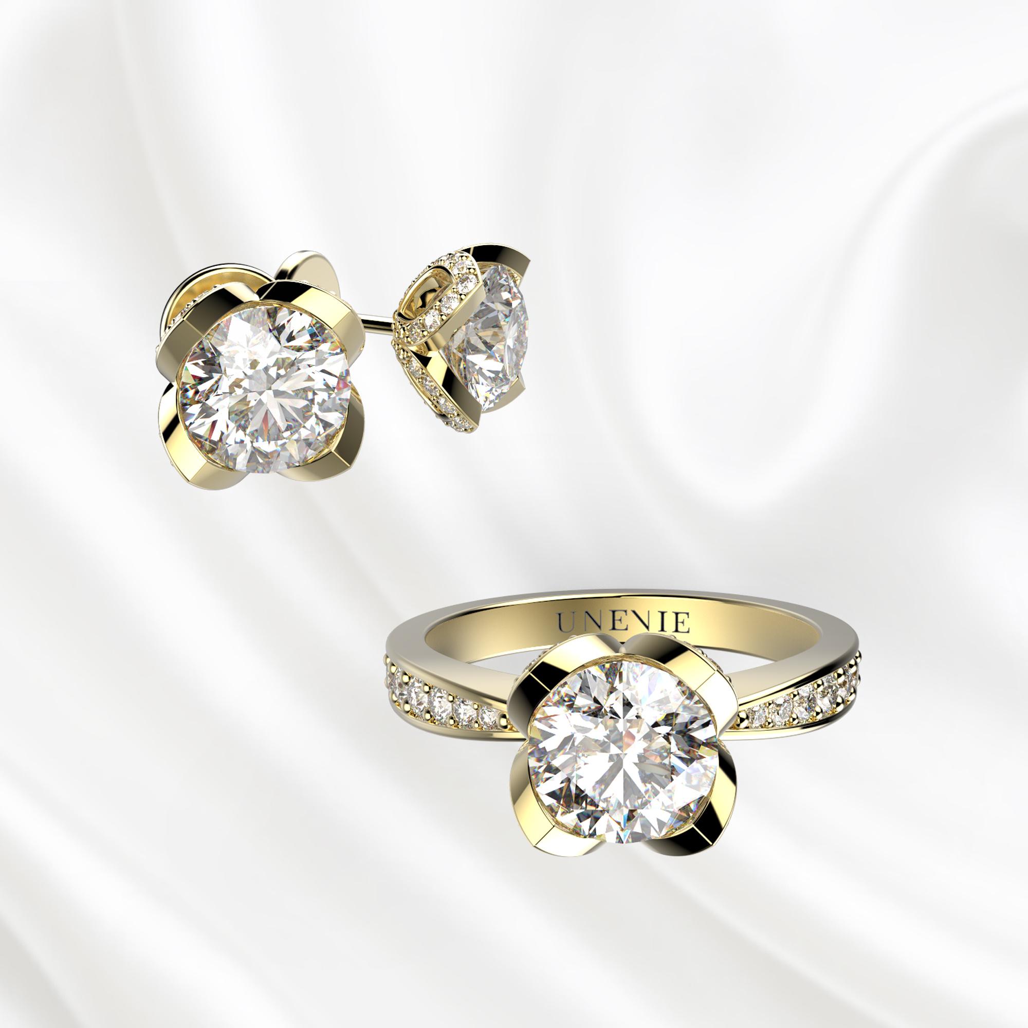 К6 Комплект ювелирных изделий серьги и кольцо из желтого золота с бриллиантами 0.3 карат