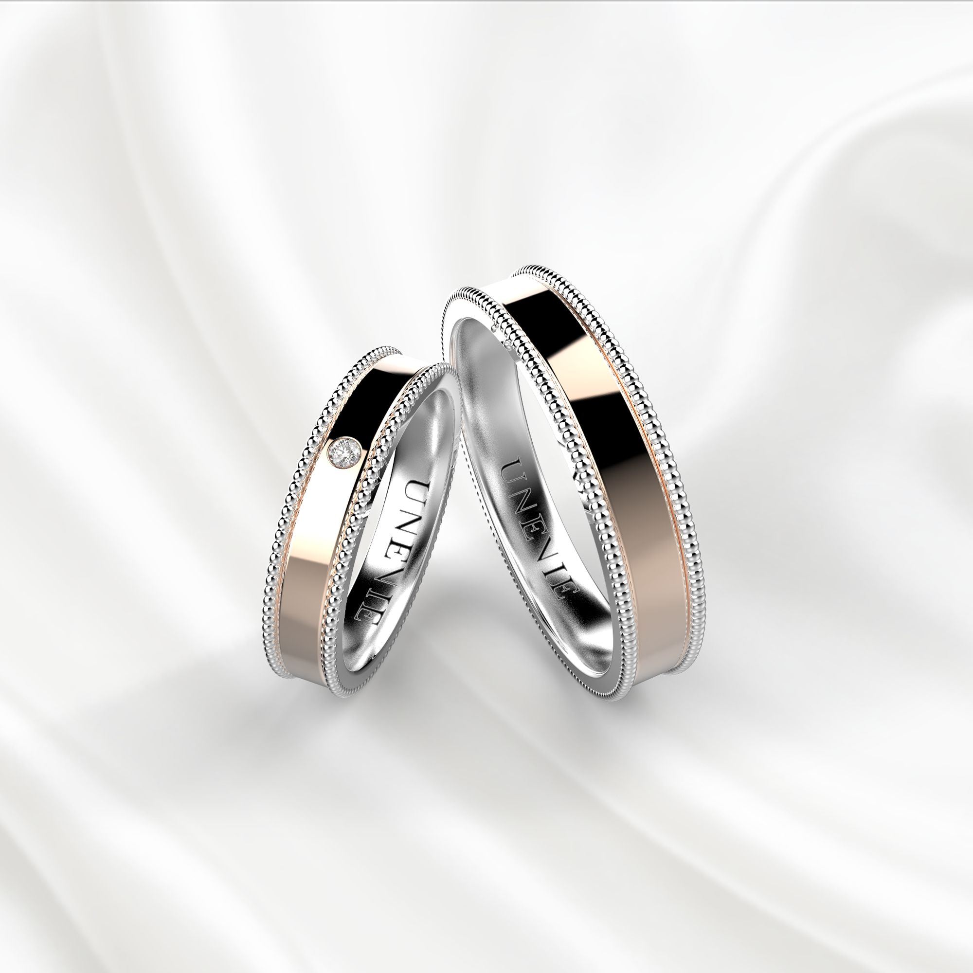 NV7 Обручальные кольца из бело-розового золота