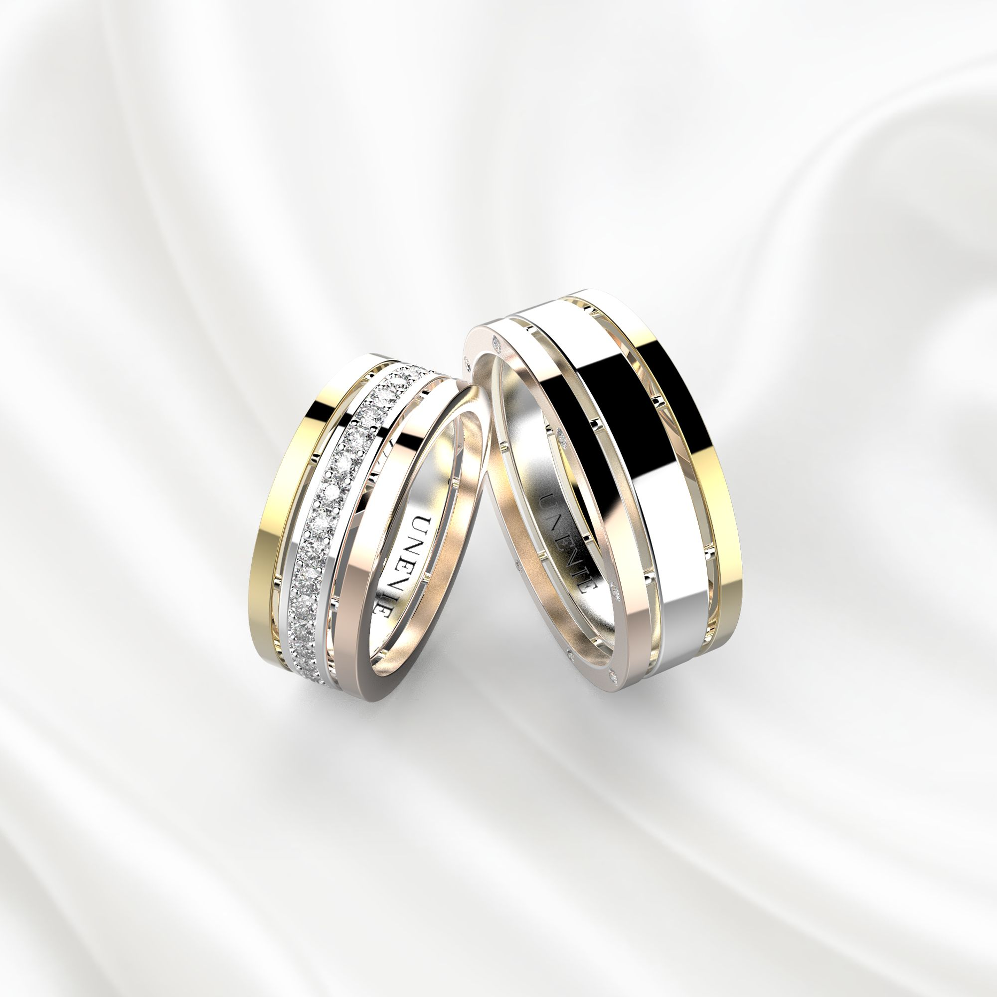 NV3 Обручальные кольца из золота трех цветов
