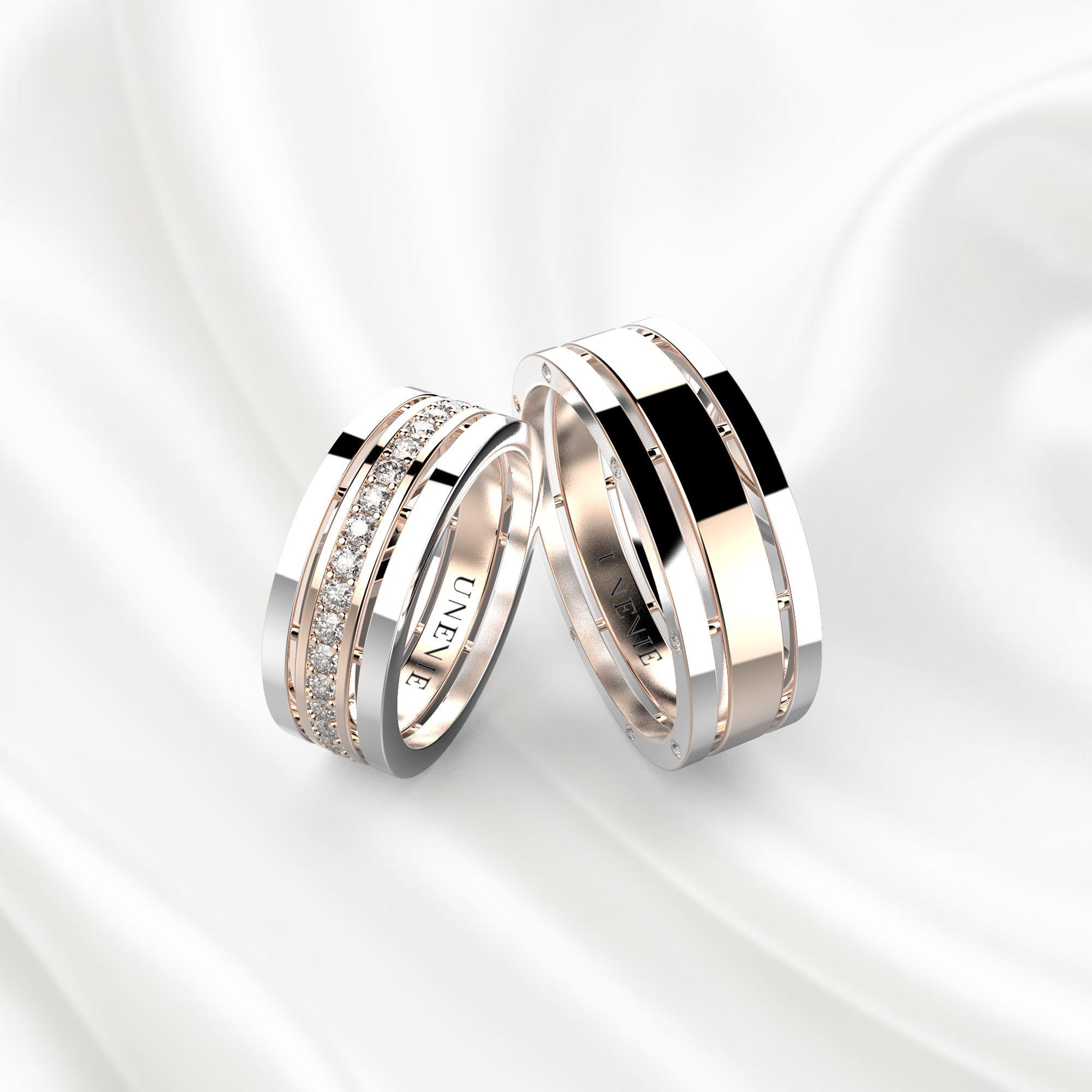 NV3 Обручальные кольца из бело-розового золота