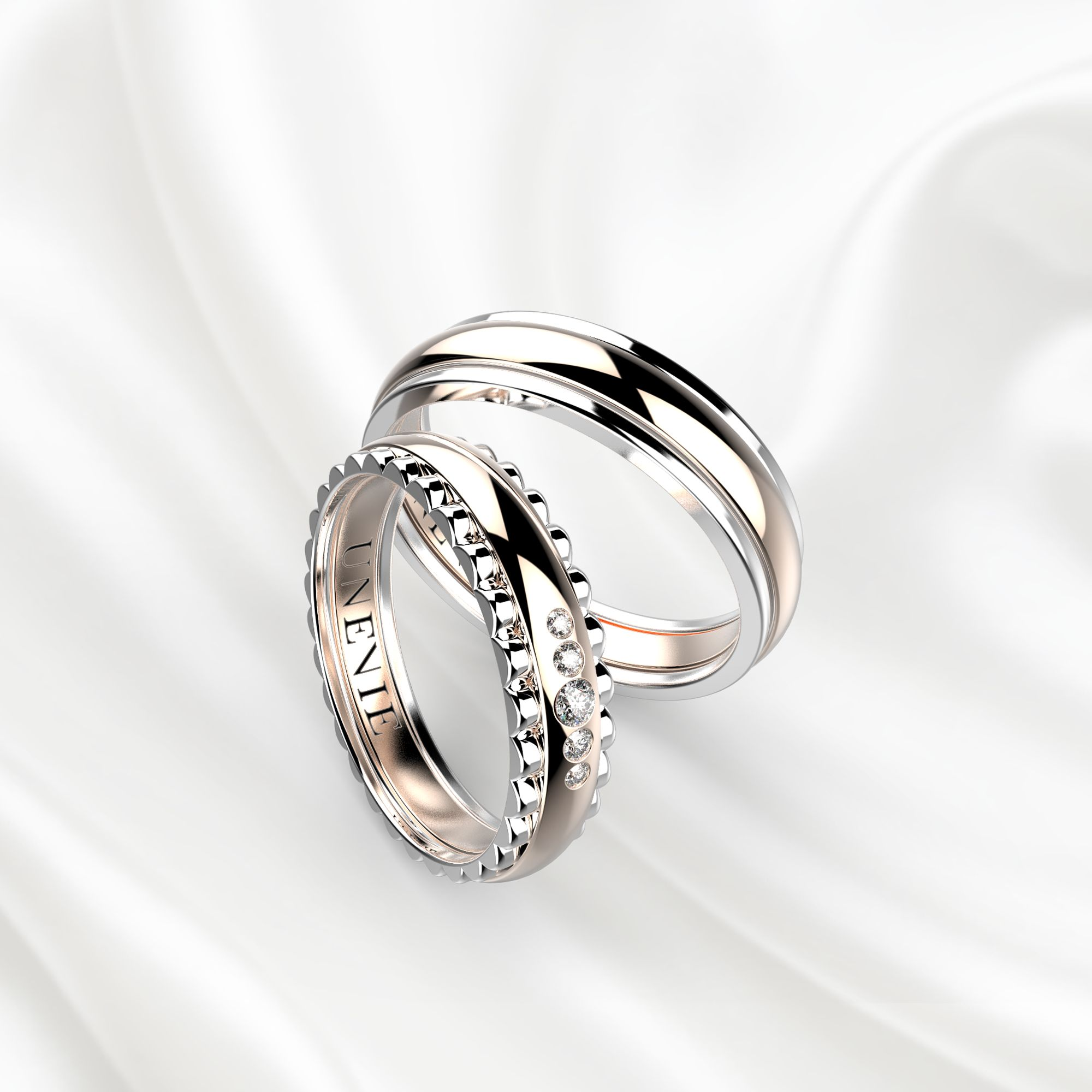 NV5 Обручальные кольца из бело-розового золота