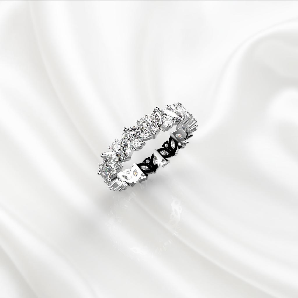 E2 Обручальное кольцо «ETERNITY» с бриллиантами по кругу