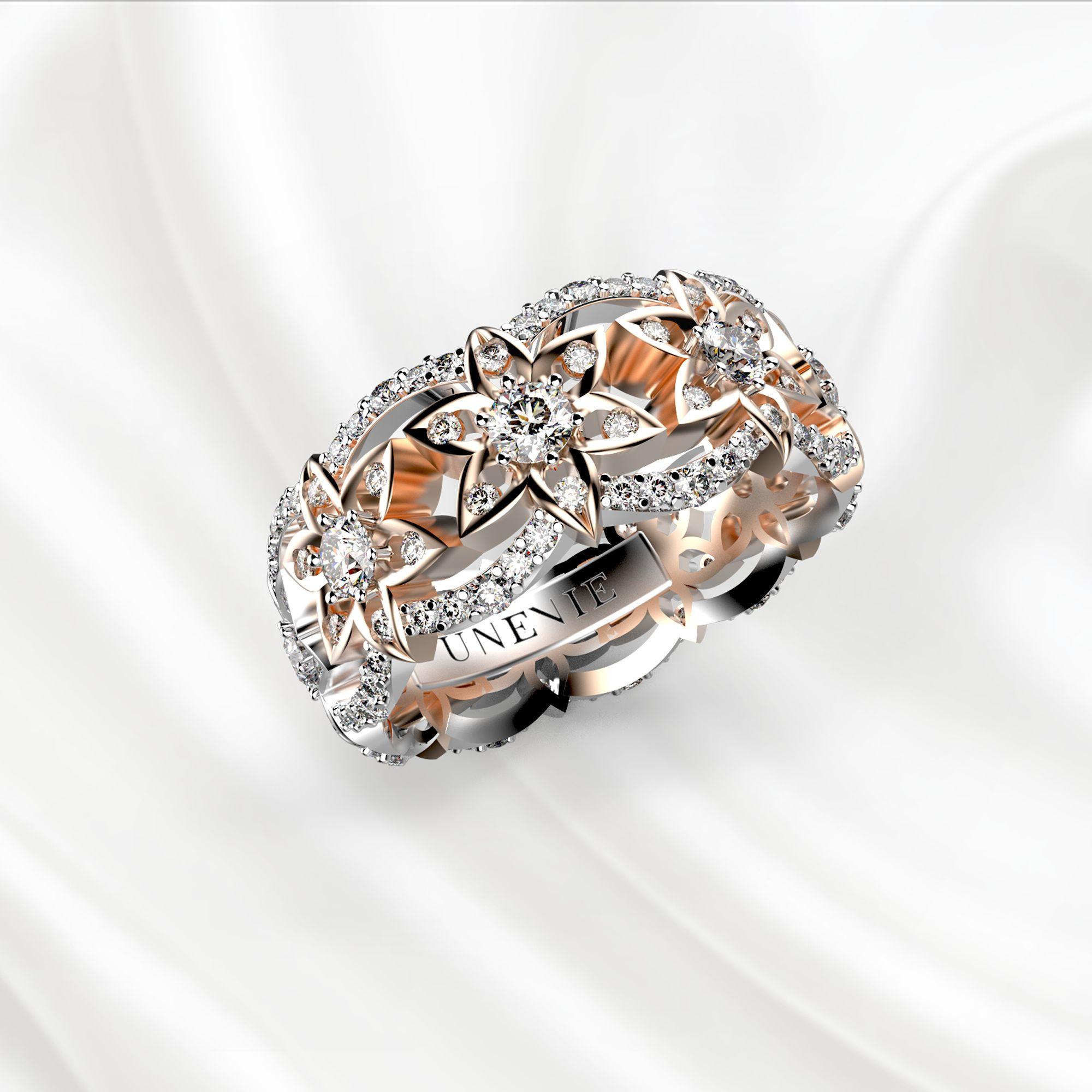E11 Обручальное кольцо из бело-розового золота с 153 бриллиантами