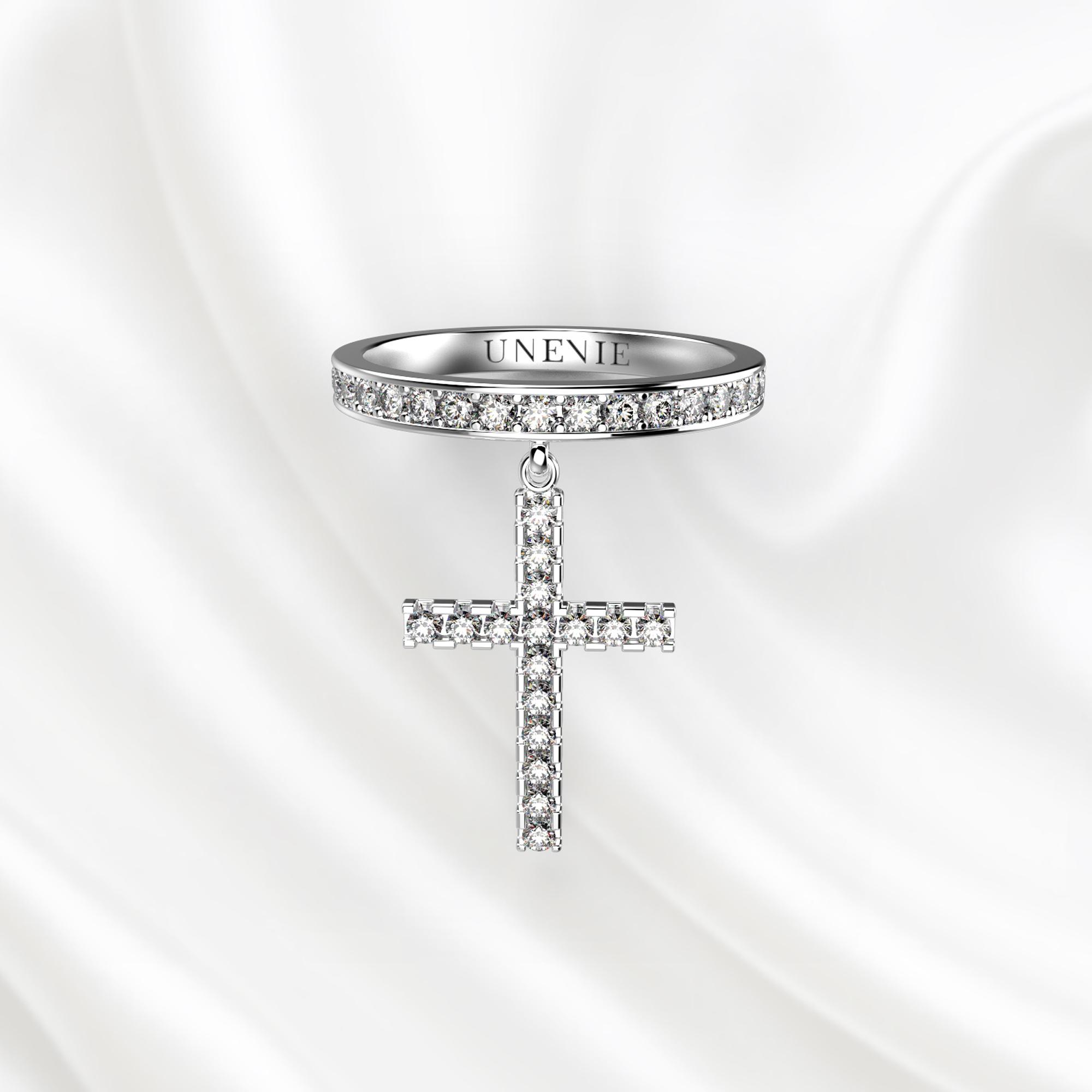 E13 Кольцо из белого золота с крестом и бриллиантами