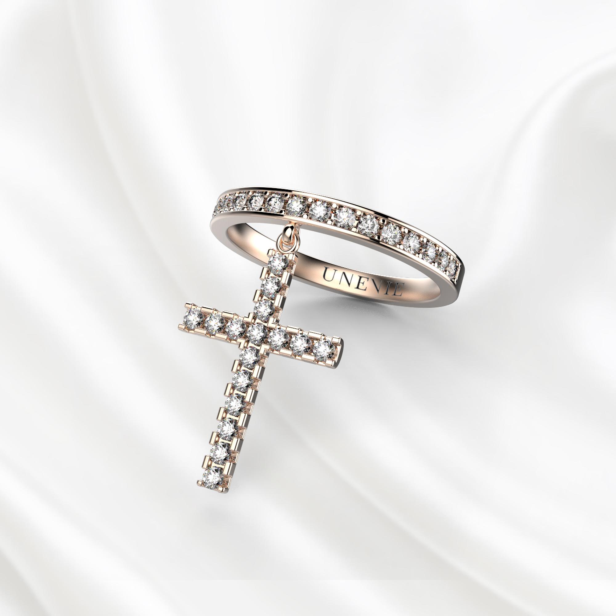 E13 Кольцо из розового золота с крестом и бриллиантами