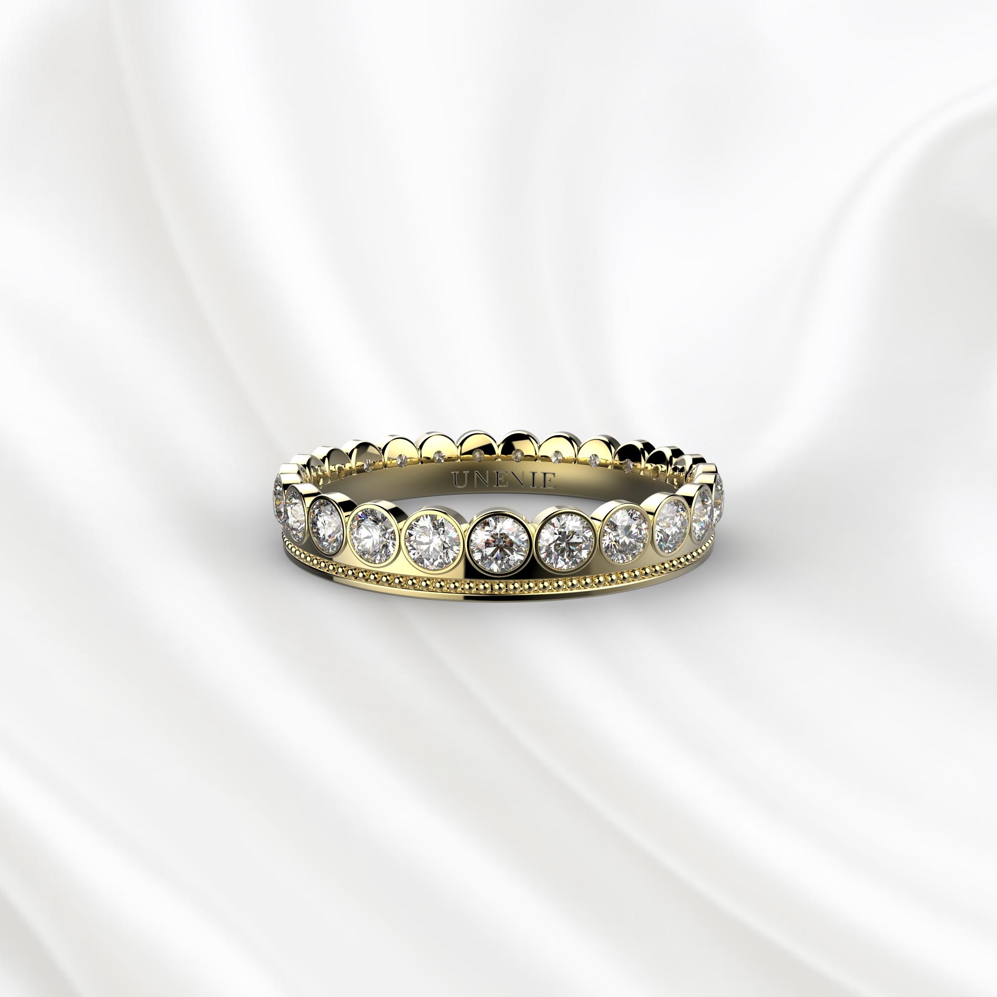 E15 Обручальное кольцо из желтого золота с 23 бриллиантами