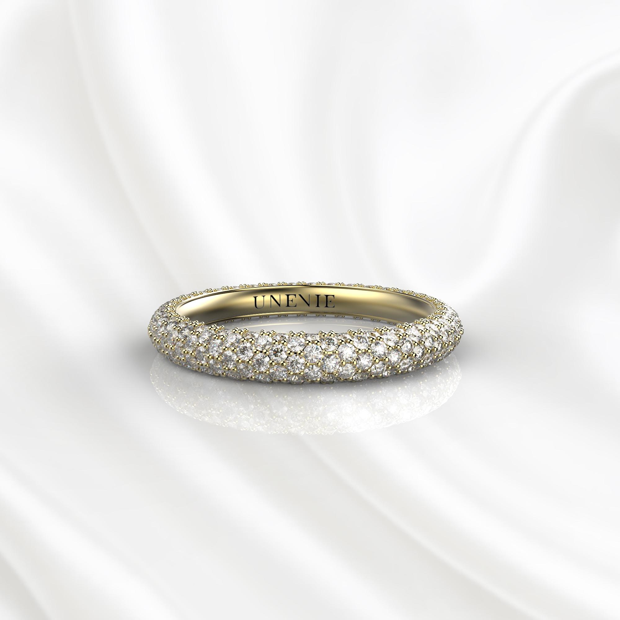 E18 Обручальное кольцо из желтого золота с бриллиантами