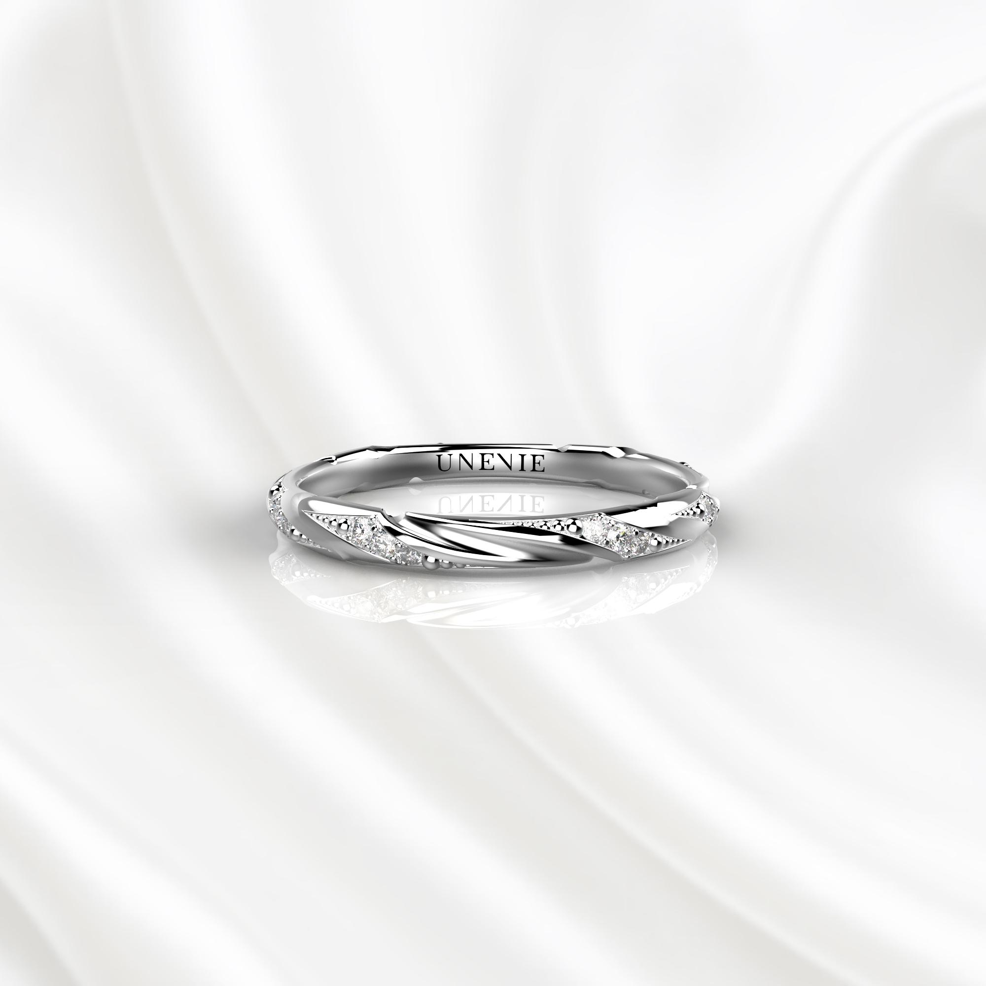E19 Обручальное кольцо из белого золота с бриллиантами