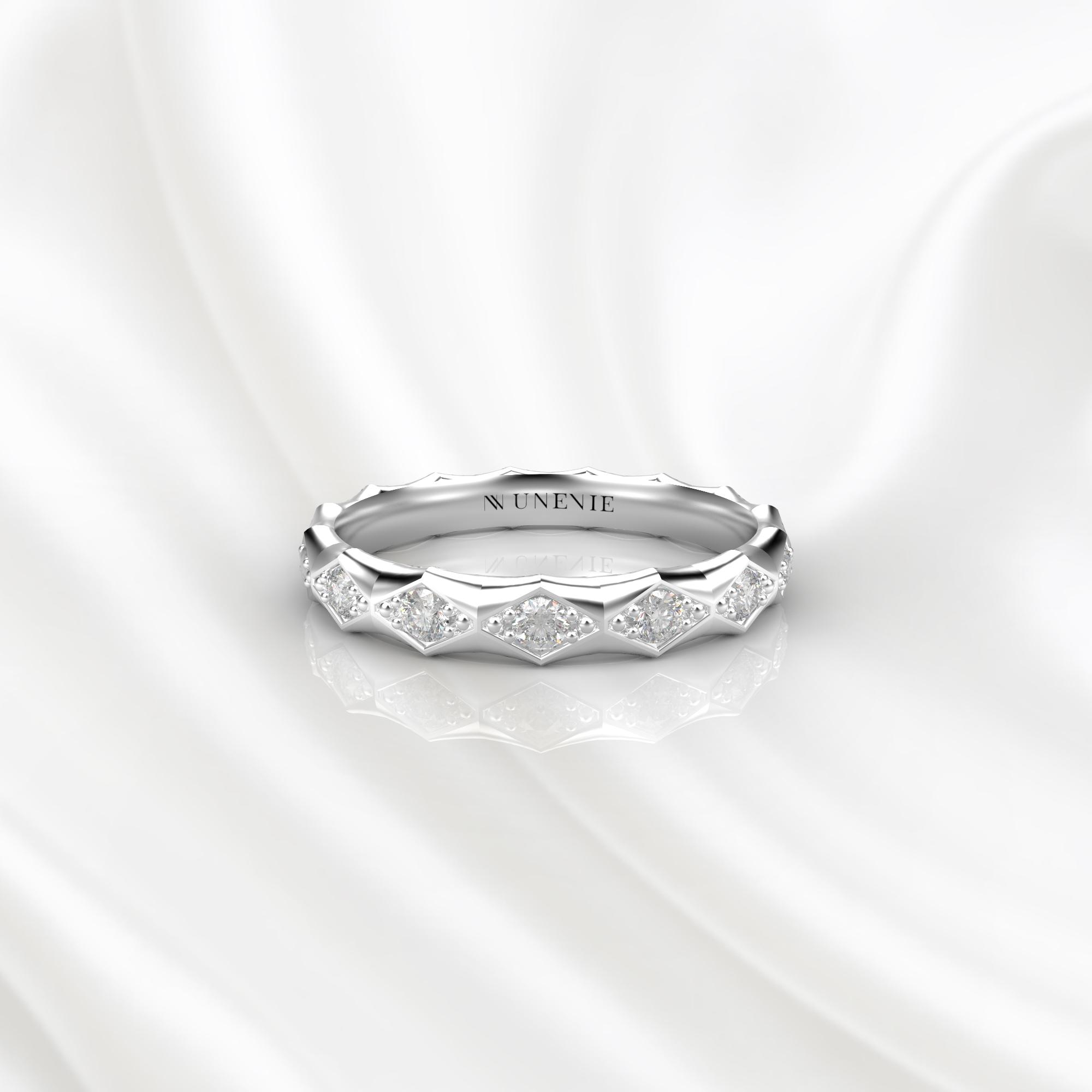 E23 Обручальное кольцо из белого золота с бриллиантами