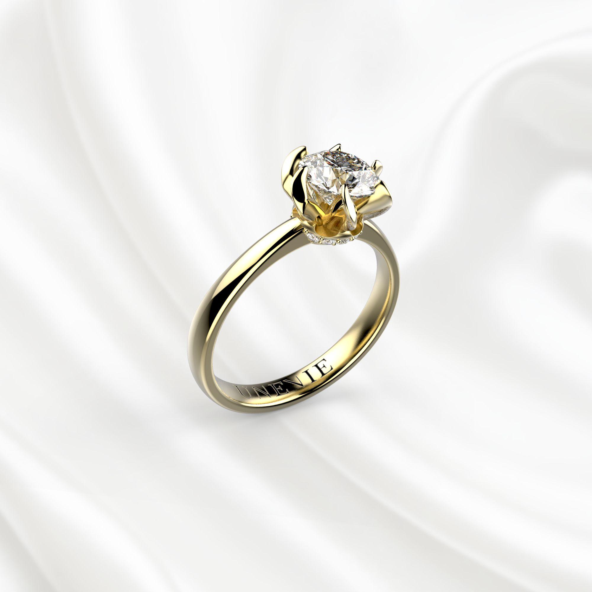 N11 Помолвочное кольцо из желтого золота с бриллиантом 0.7 карат
