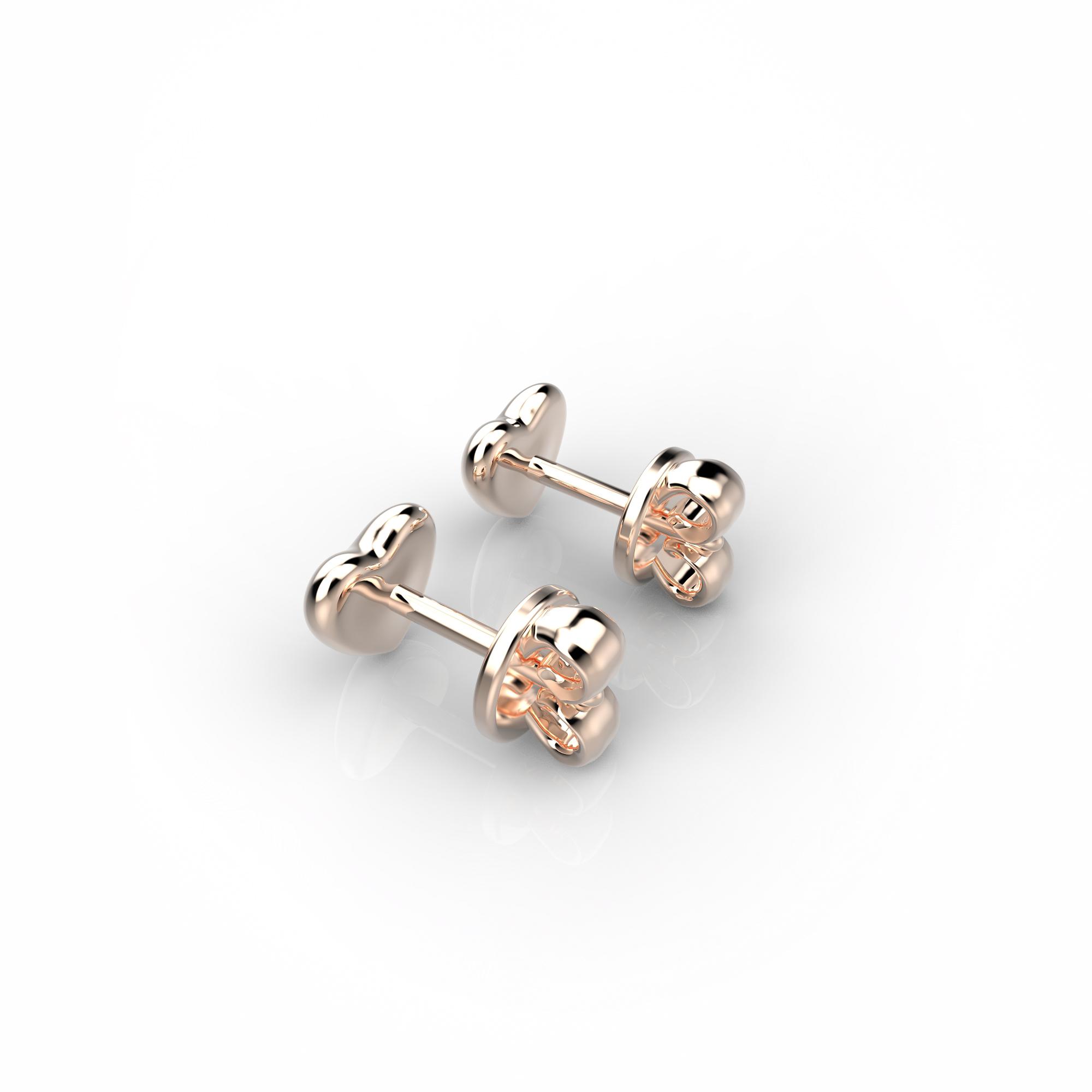 Mi1 Детские серьги-пусеты из розового золота с бриллиантами