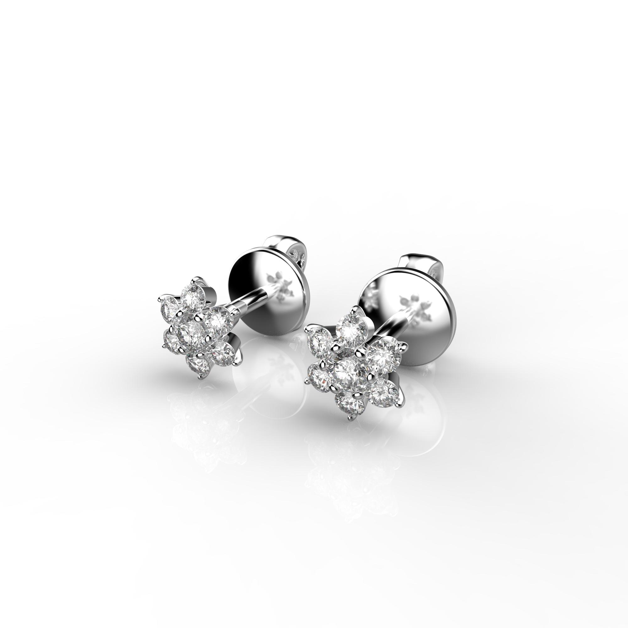 Mi2 Детские серьги-пусеты из белого золота с бриллиантами