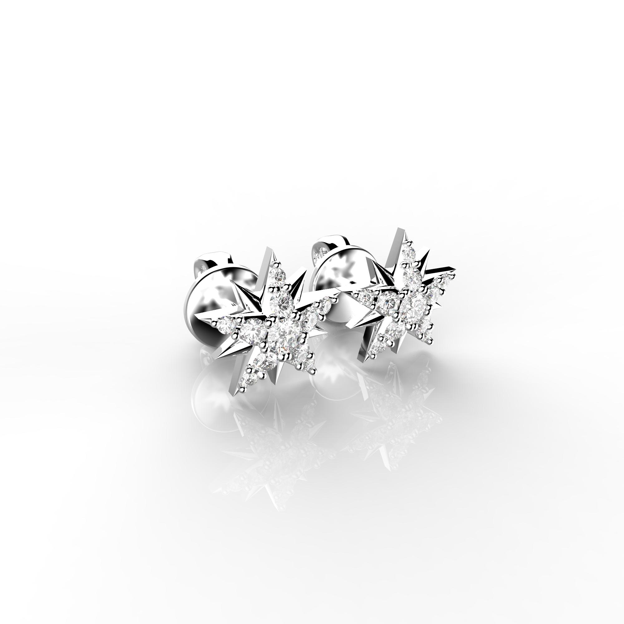 Mi3 Детские серьги-пусеты из белого золота с бриллиантами