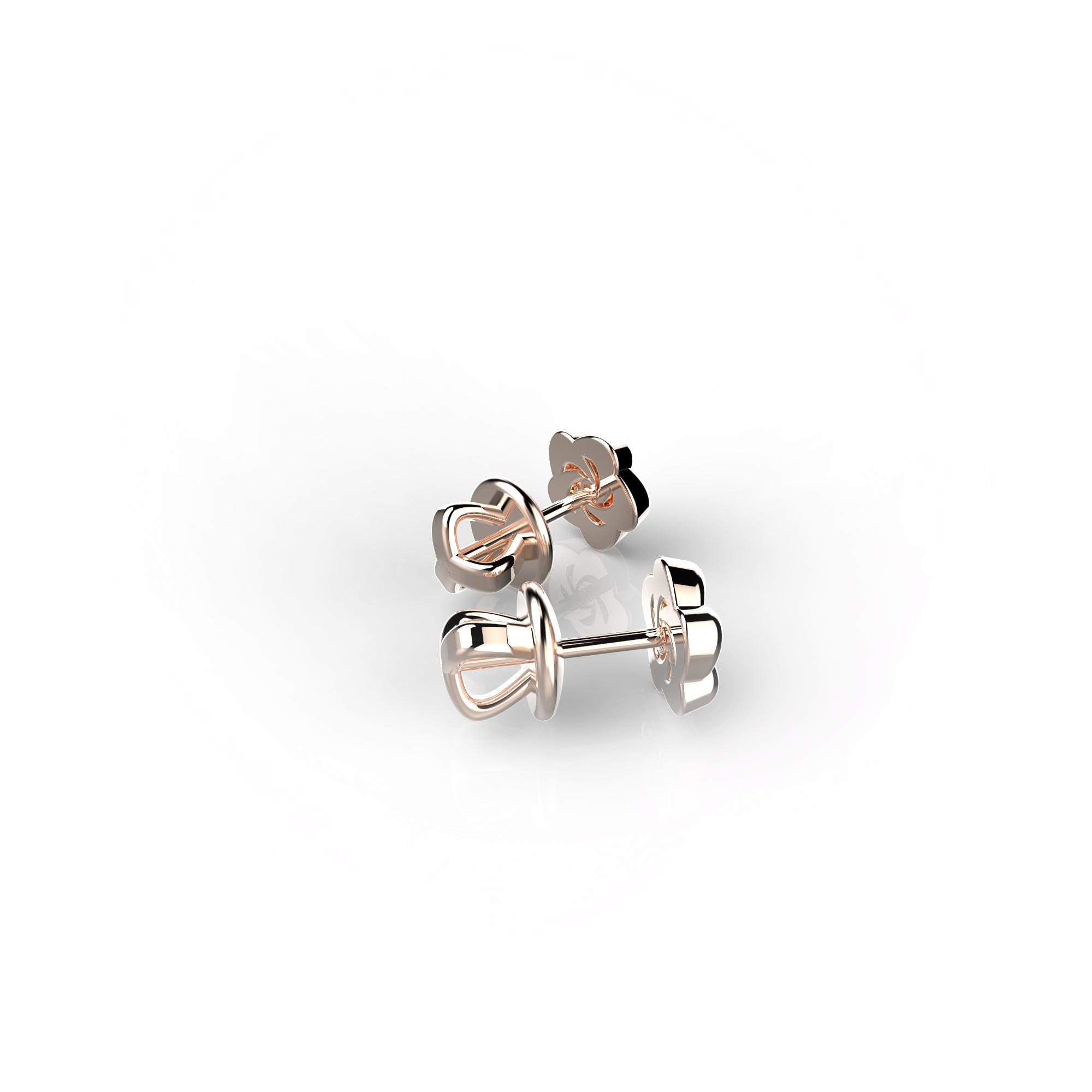 Mi6 Детские серьги-пусеты из розового золота с бриллиантами