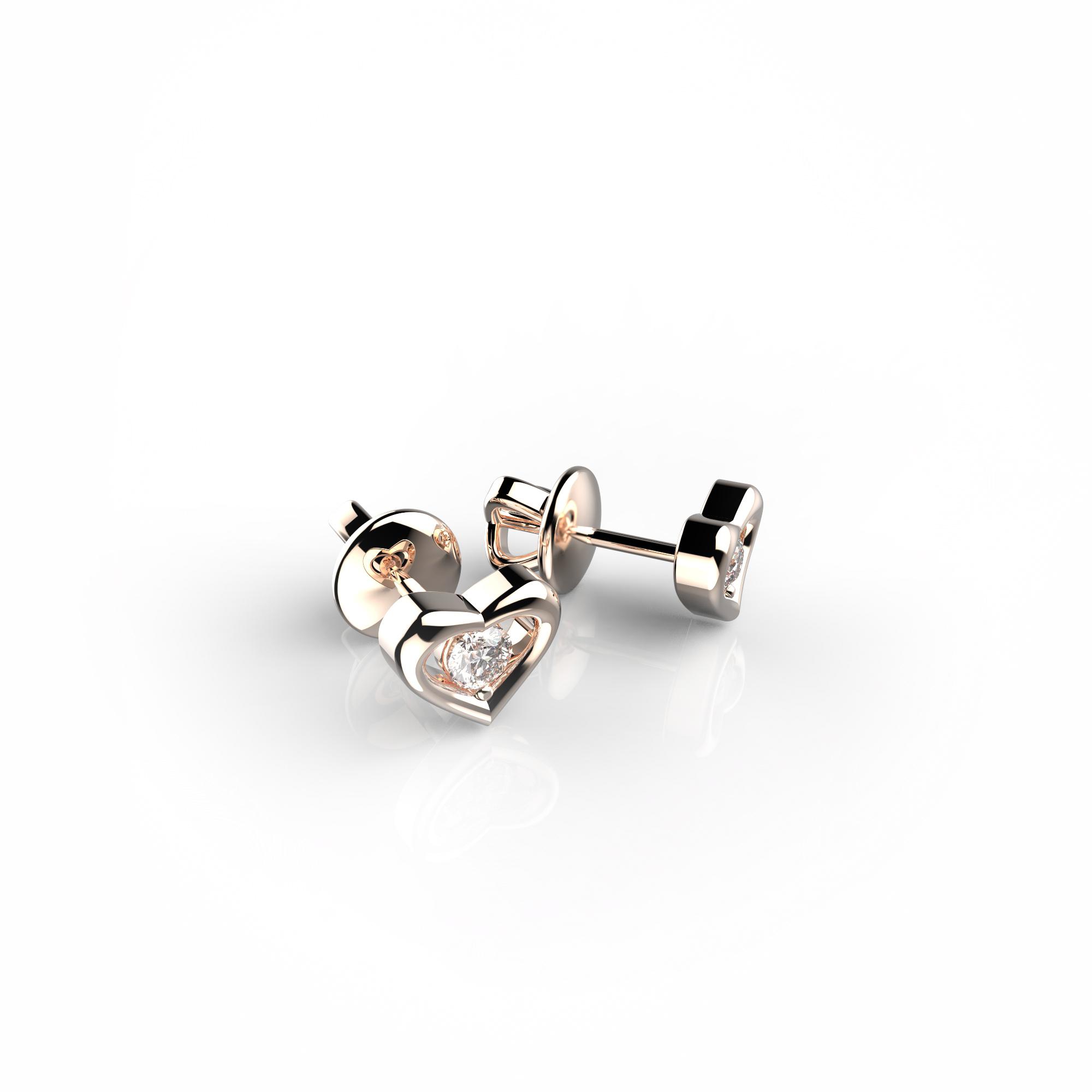 Mi7 Детские серьги-пусеты из розового золота с бриллиантами