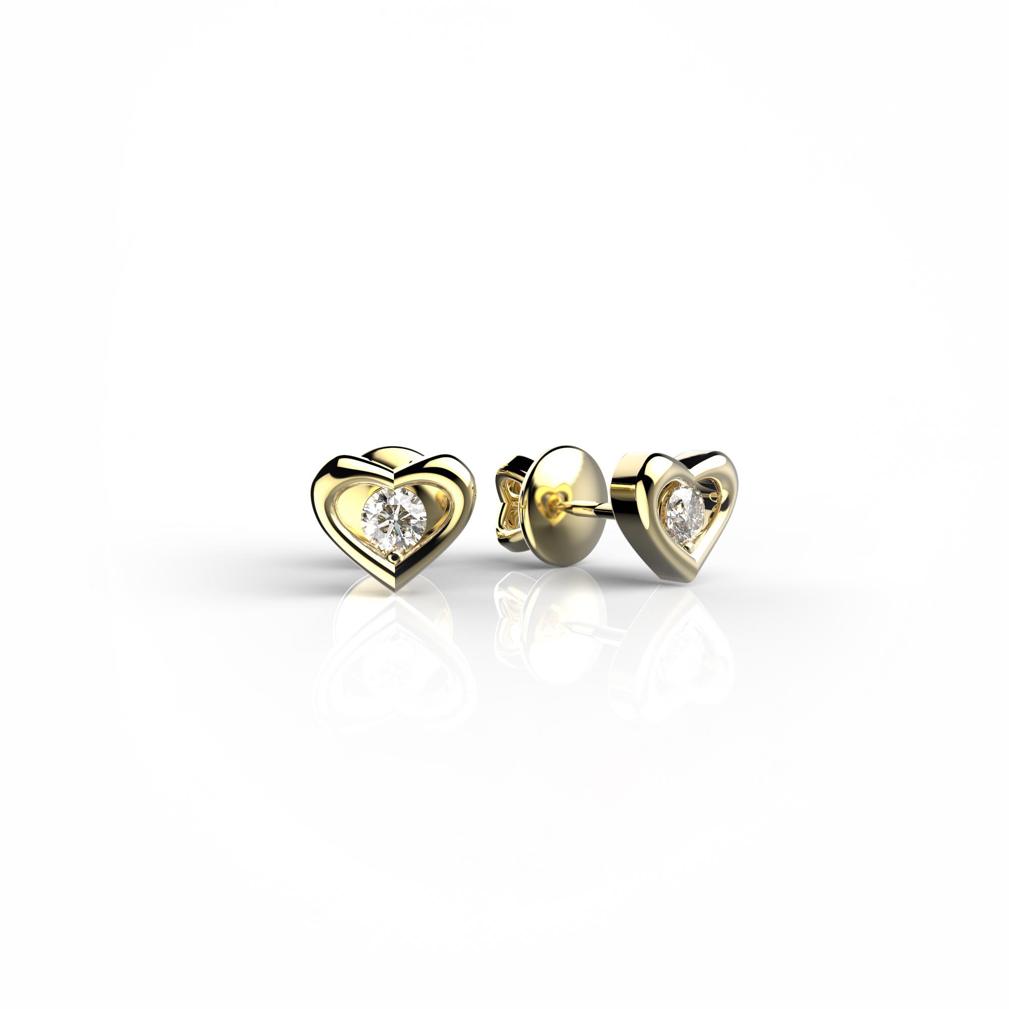 Mi7 Детские серьги-пусеты из желтого золота с бриллиантами