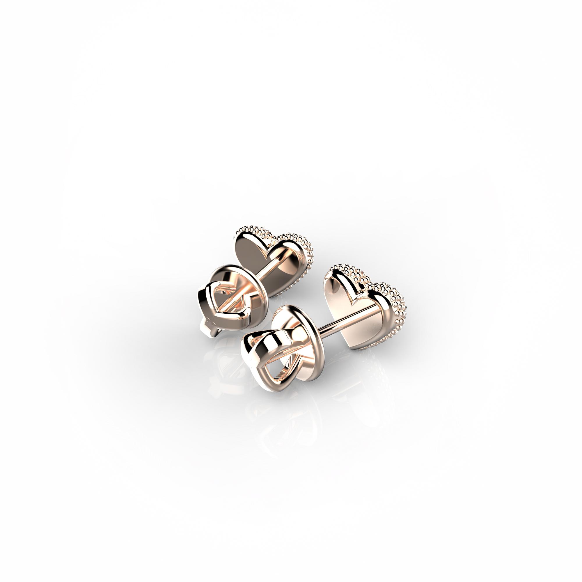 Mi8 Детские серьги-пусеты из розового золота с бриллиантами