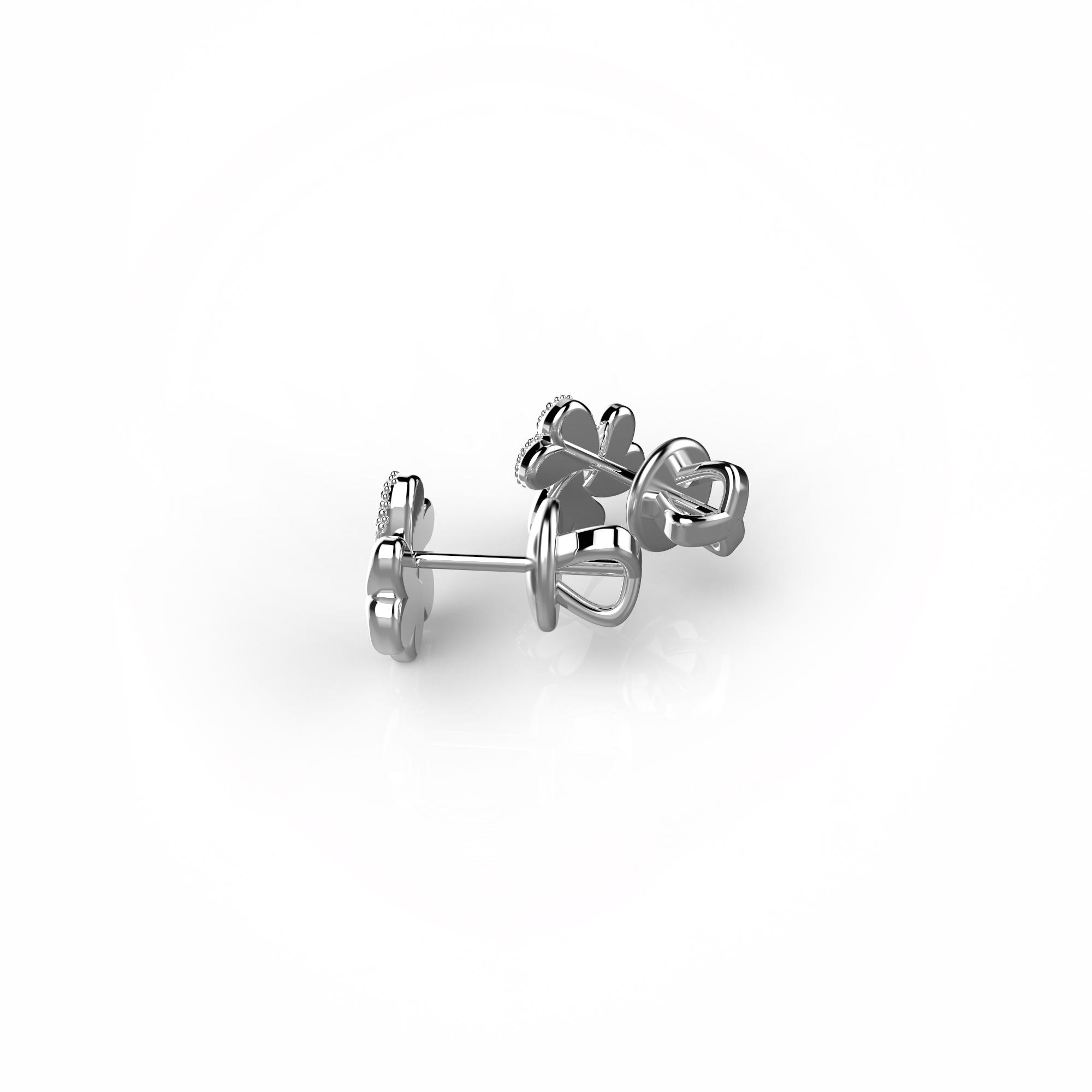 Mi9 Детские серьги-пусеты из белого золота с бриллиантами