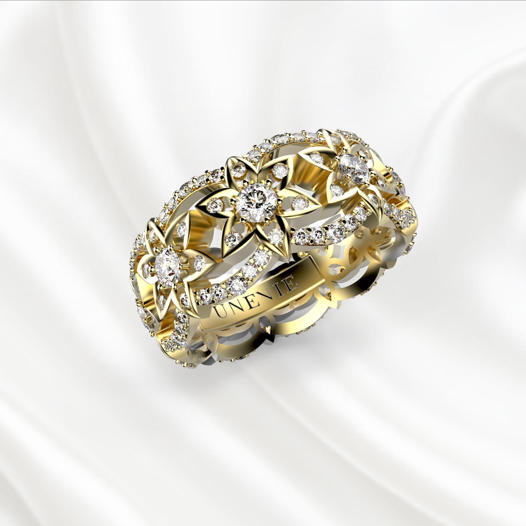 E11 Обручальное кольцо из желтого золота с 153 бриллиантами