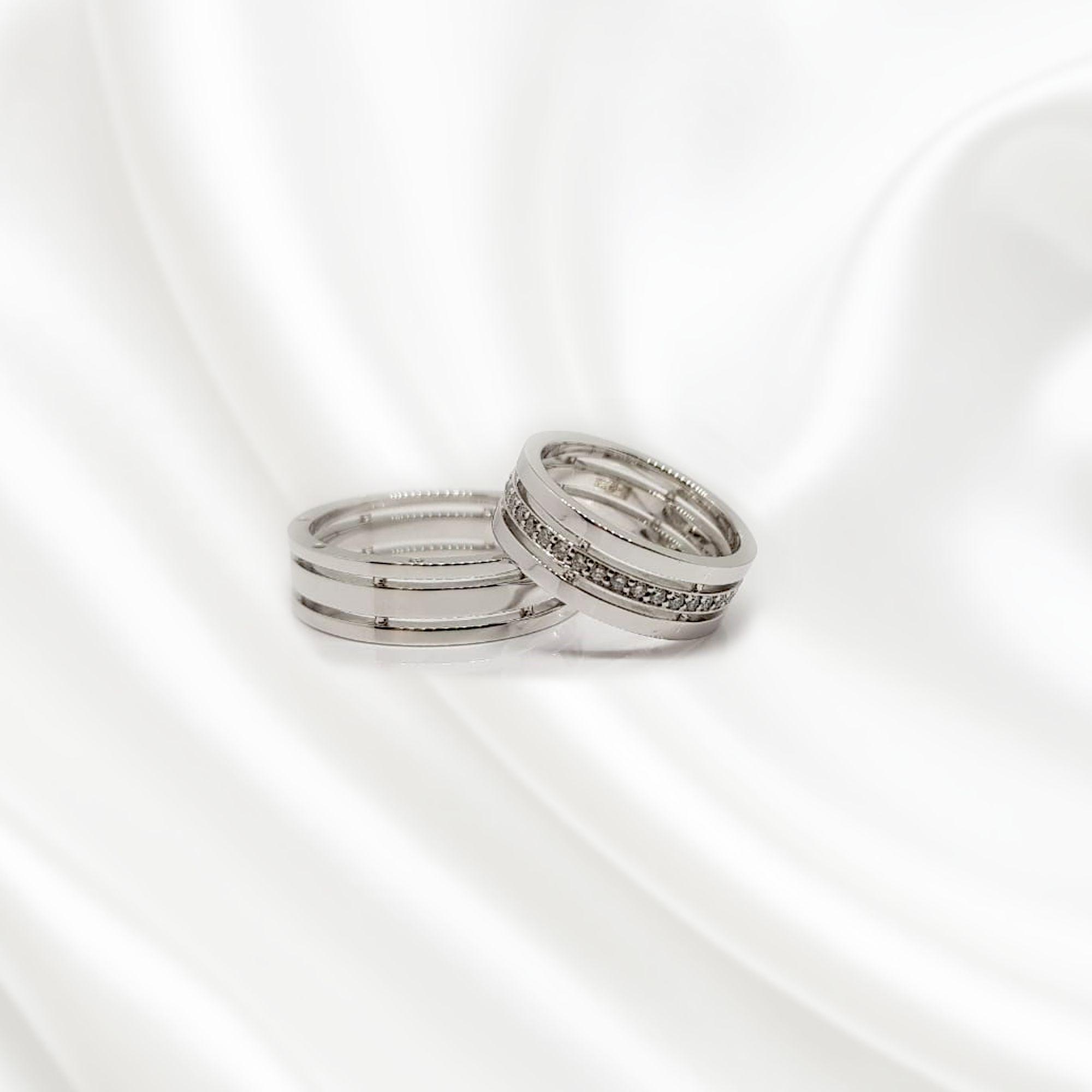 NV12 Обручальные кольца из белого золота