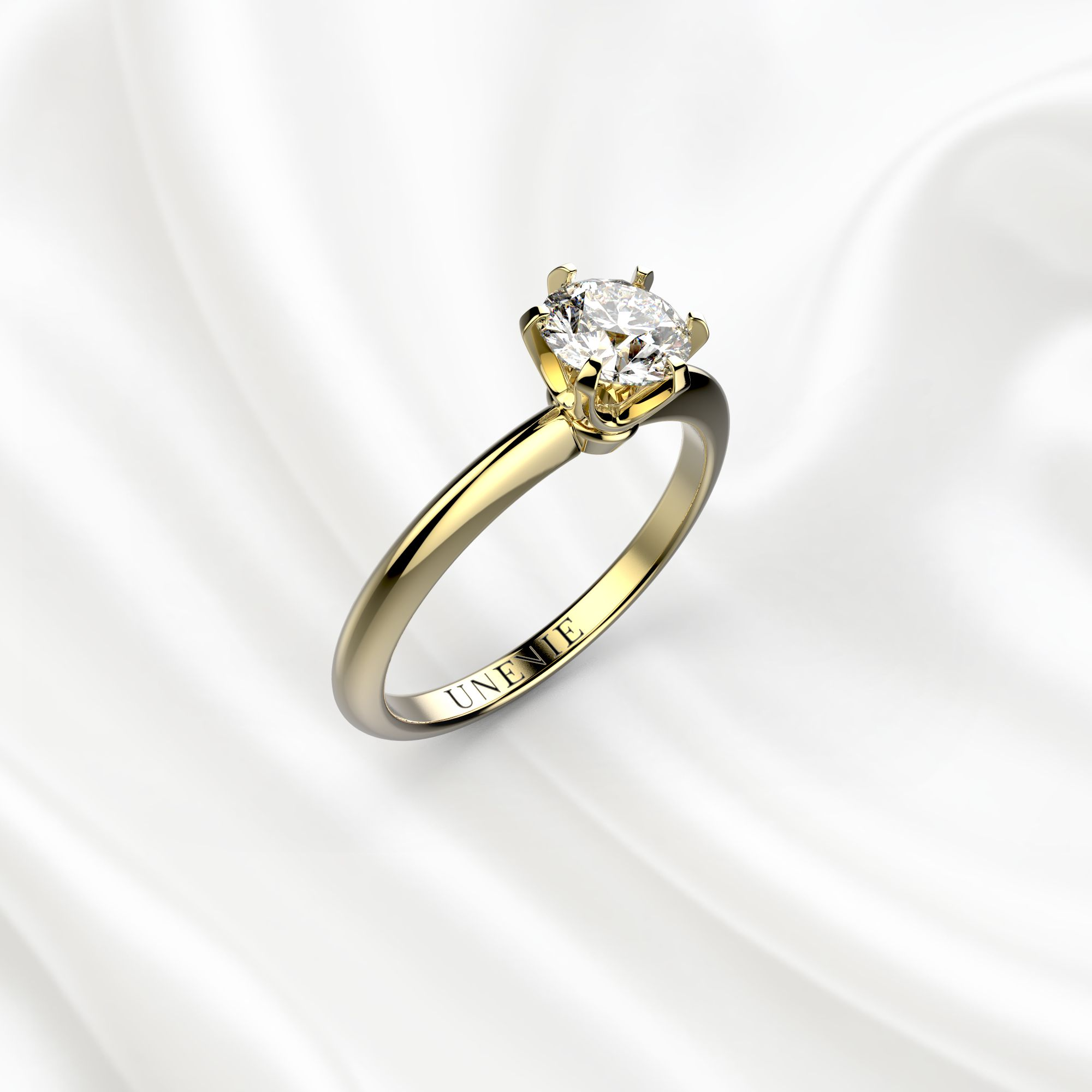 N1 Помолвочное кольцо из желтого золота с 1 бриллиантом 0.5 карат