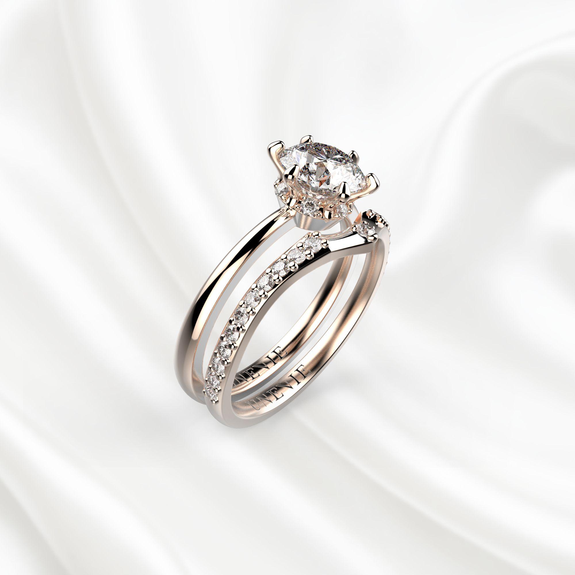 N3 Сет колец для помолвки из розового золота с бриллиантом 0.8 карат