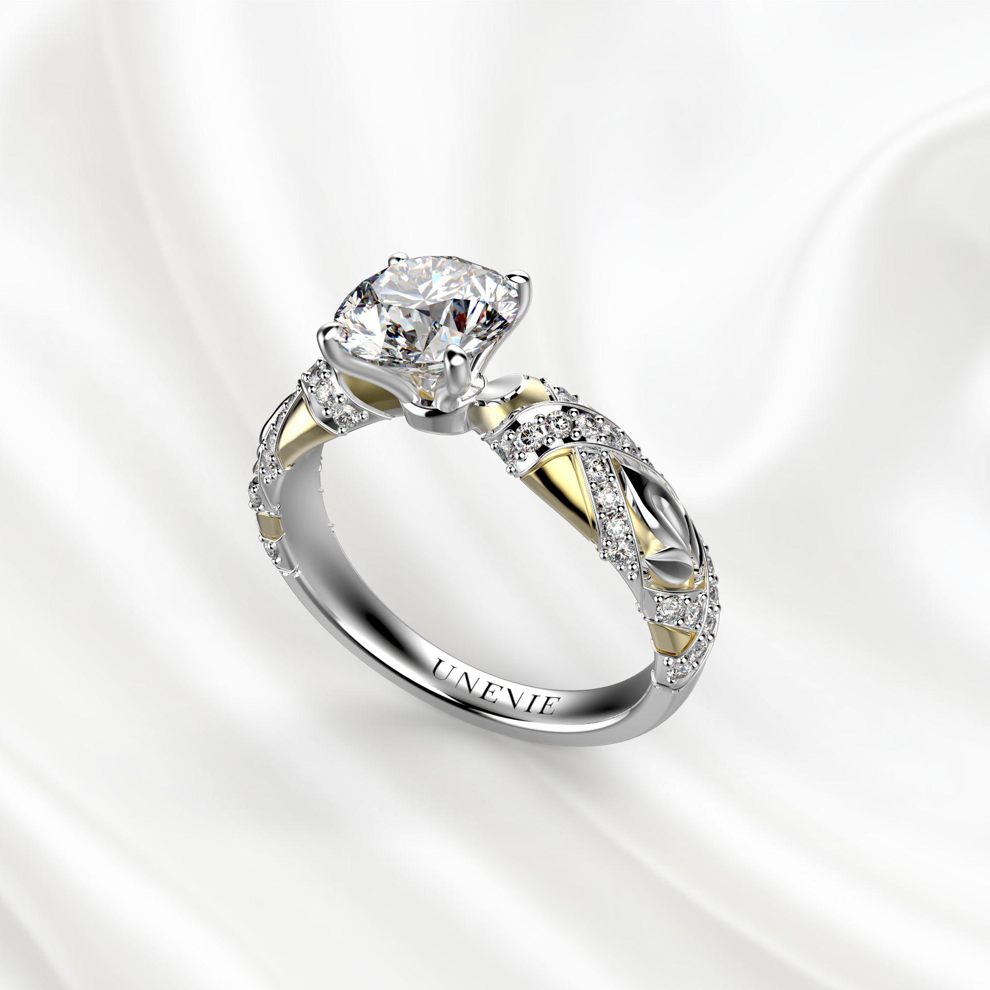 N17 Помолвочное кольцо из бело-желтого золота c 51 бриллиантом