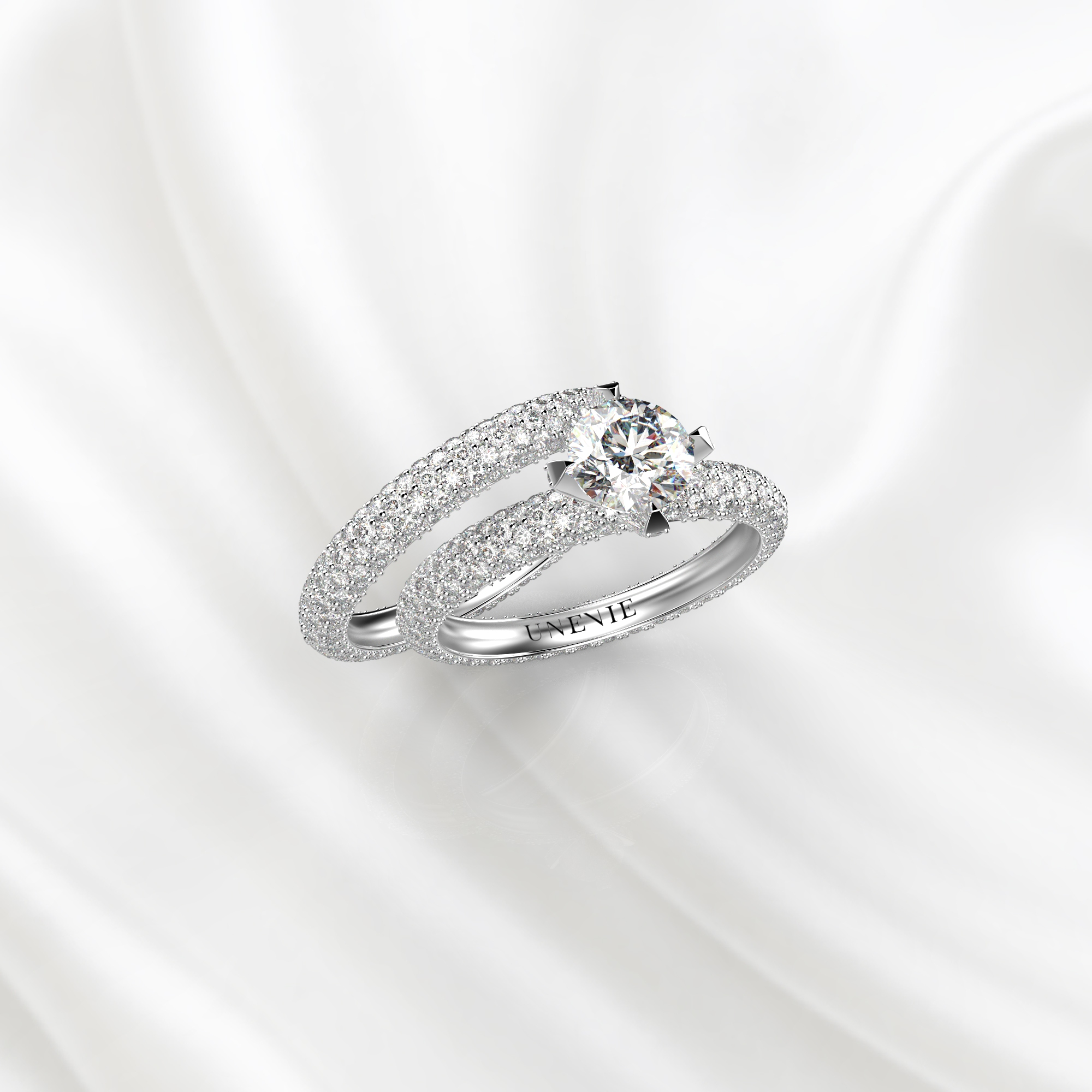 N26 Сет колец для помолвки из белого золота с бриллиантами