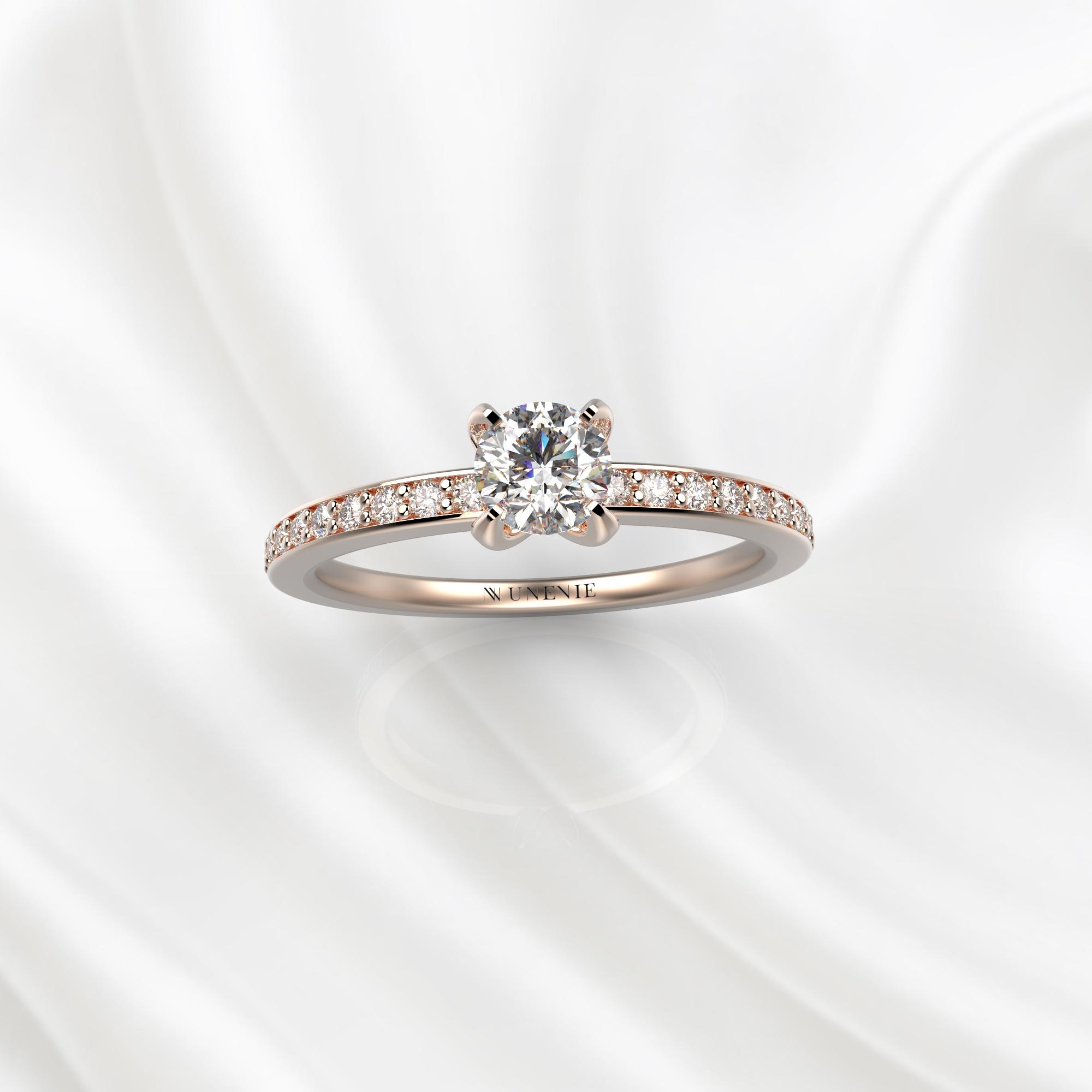 N28 Помолвочное кольцо из розового золота с бриллиантами