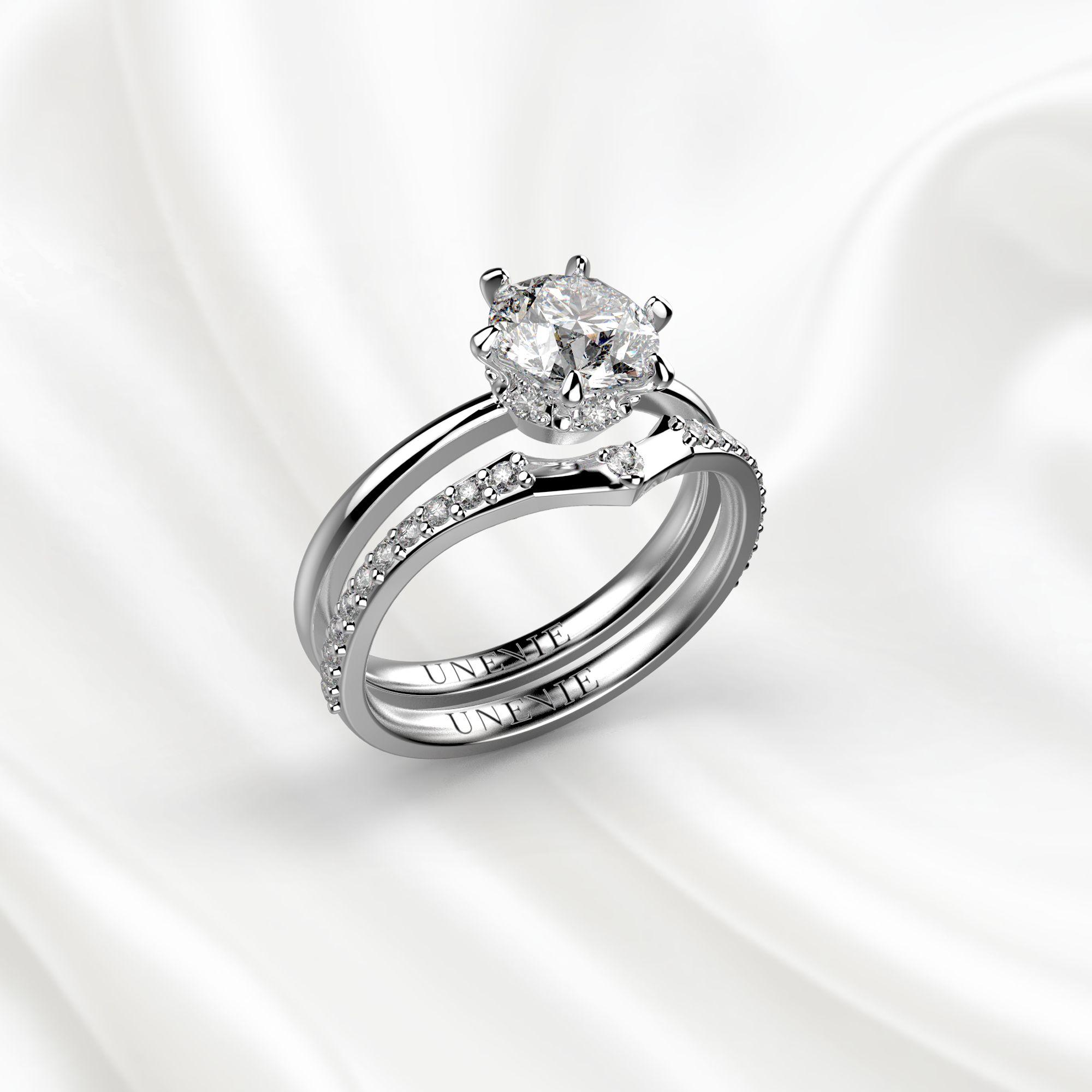 N3 Сет колец для помолвки из белого золота с бриллиантом 0.8 карат