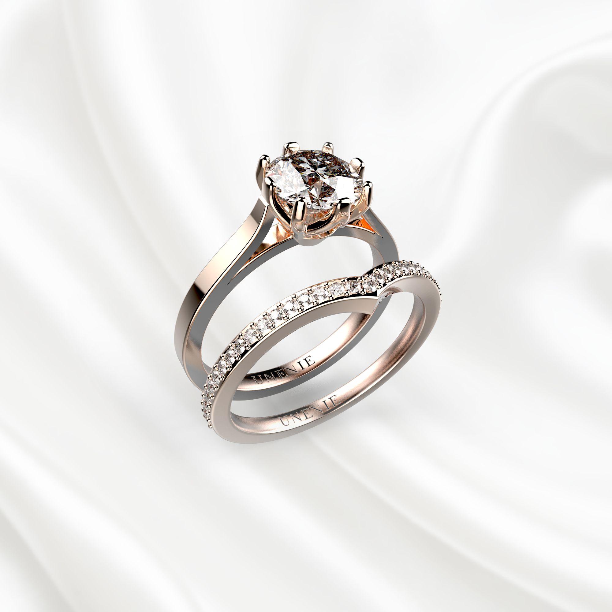 N2 Сет колец для помолвки из розового золота с бриллиантом 1 карат