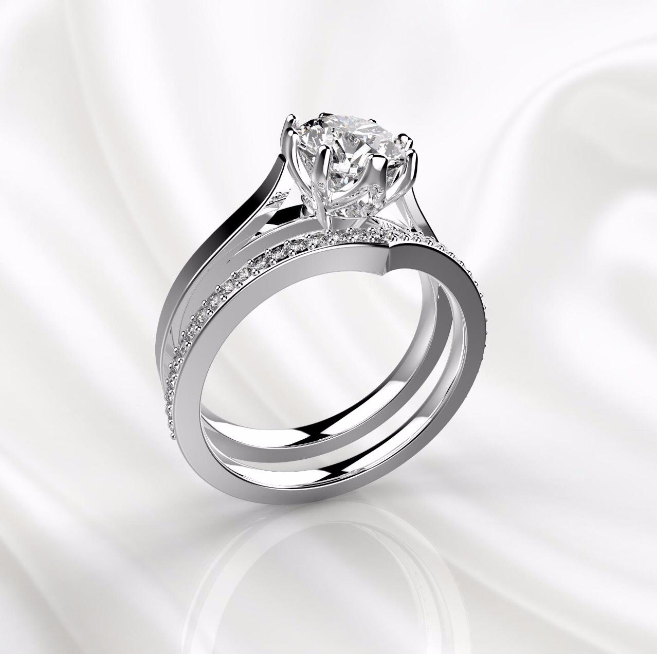 N2 Сет колец для помолвки из белого золота с бриллиантом 1 карат