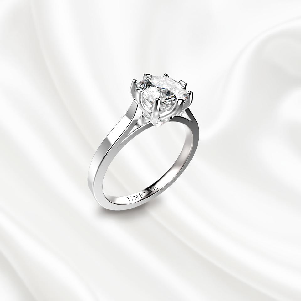 N10 Помолвочное кольцо из белого золота с бриллиантом 1 карат