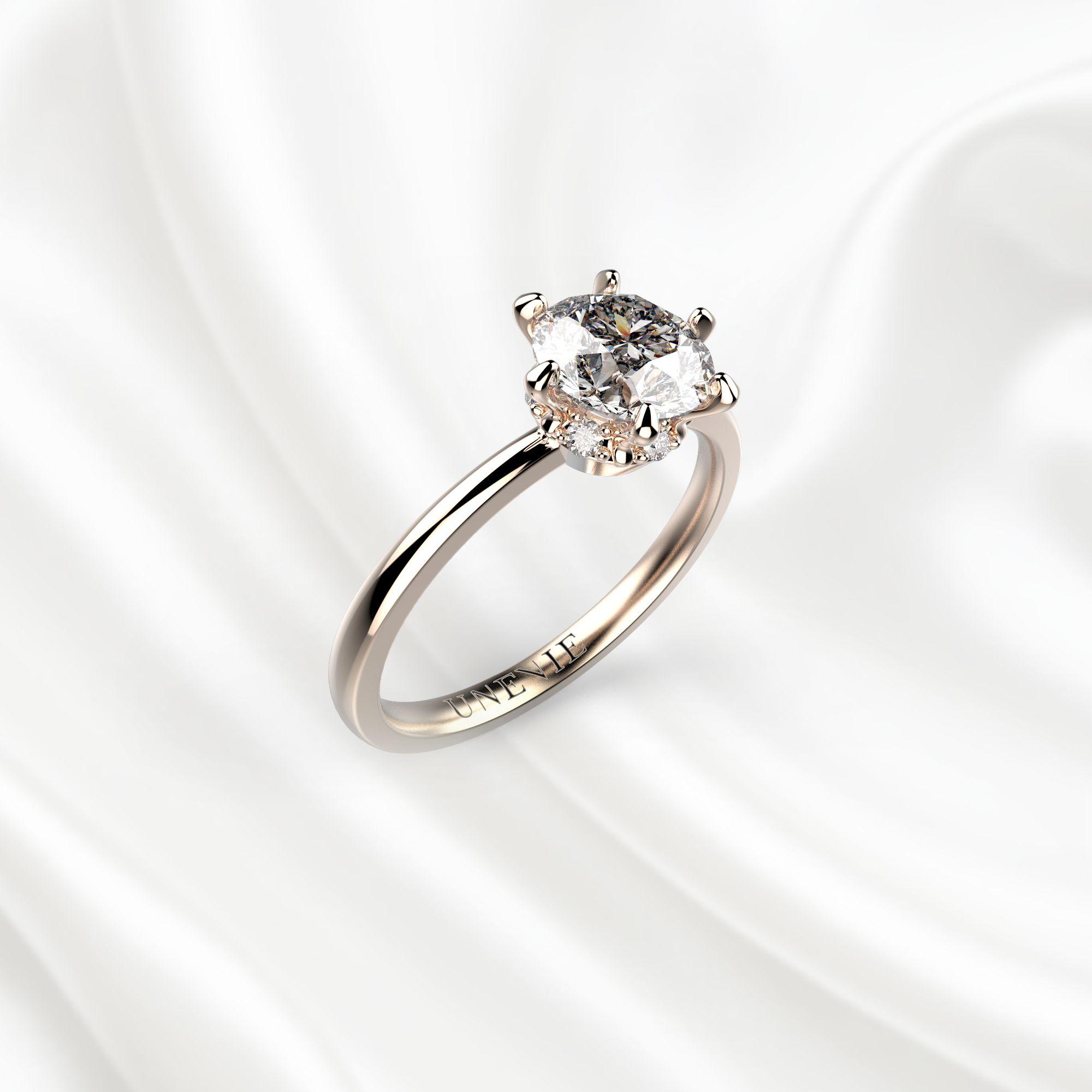 N9 Помолвочное кольцо из розового золота с бриллиантом 0.8 карат