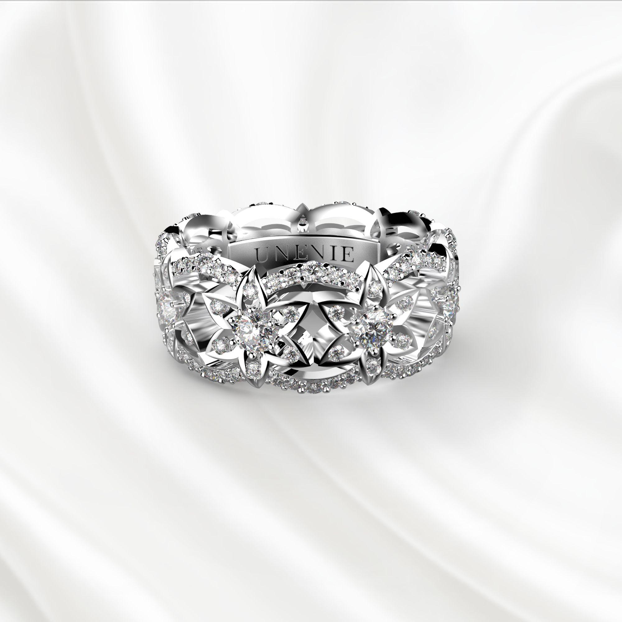 E11 Обручальное кольцо из белого золота с 153 бриллиантами