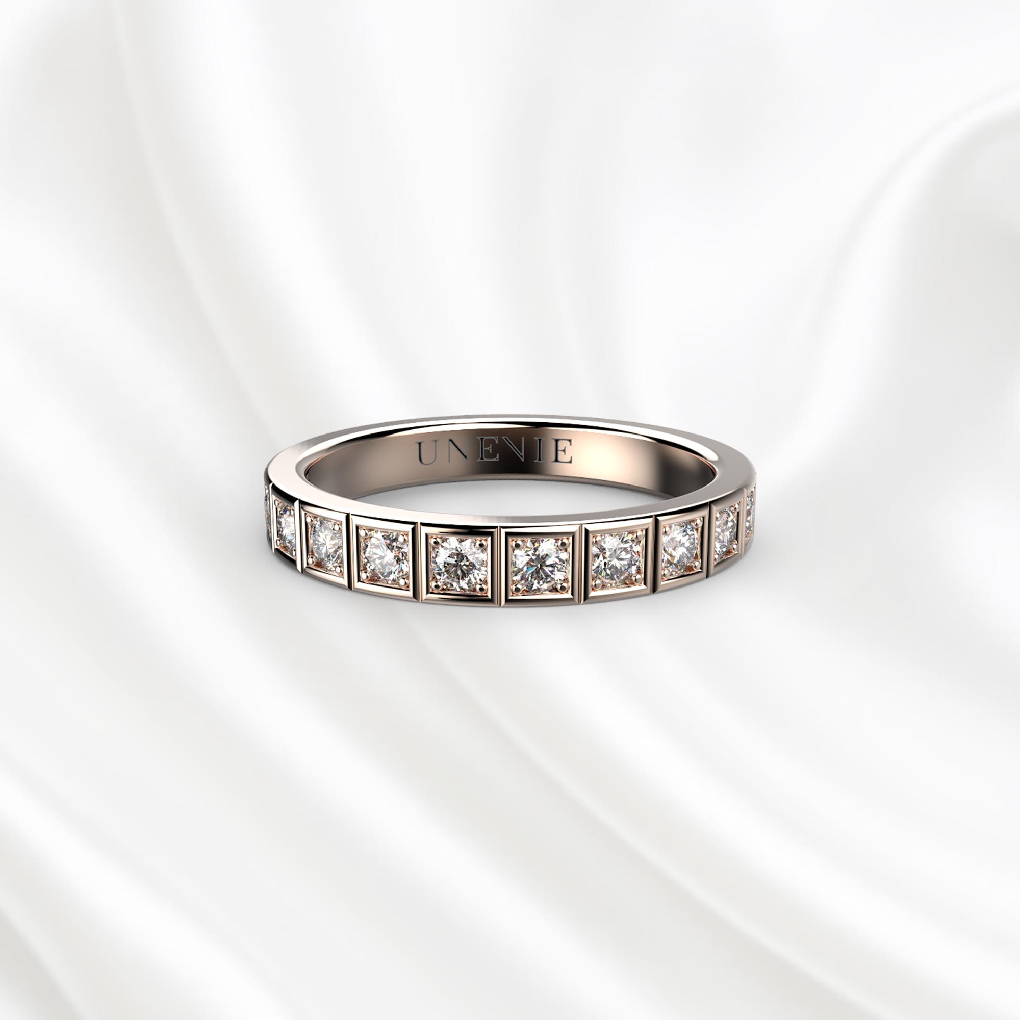E12 Обручальное кольцо из розового золота с бриллиантами