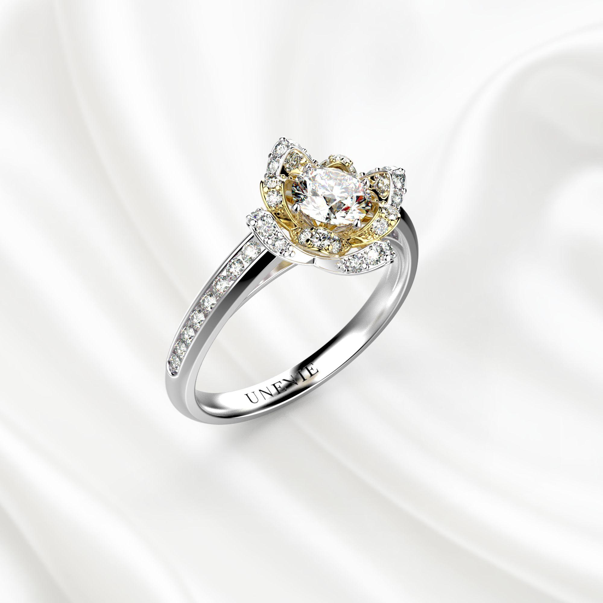 N13 Помолвочное кольцо из бело-желтого золота с бриллиантом 0.35 карат