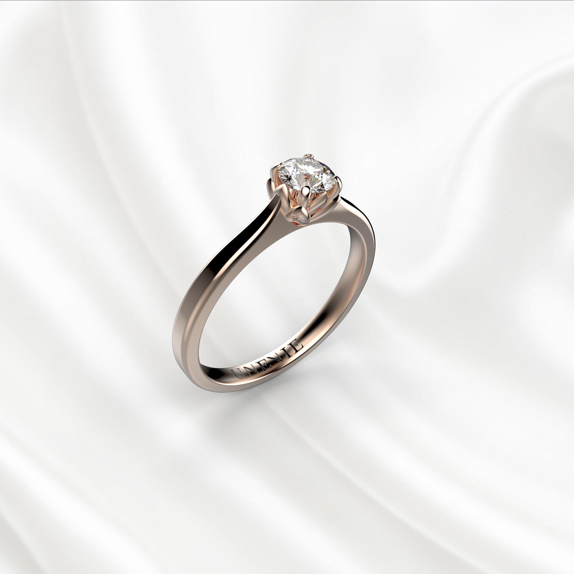 N16-1 Помолвочное кольцо из розового золота с бриллиантом 0.2 карат