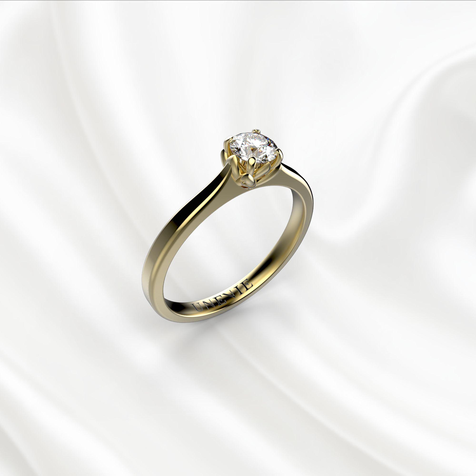 N16-1 Помолвочное кольцо из желтого золота с бриллиантом 0.2 карат