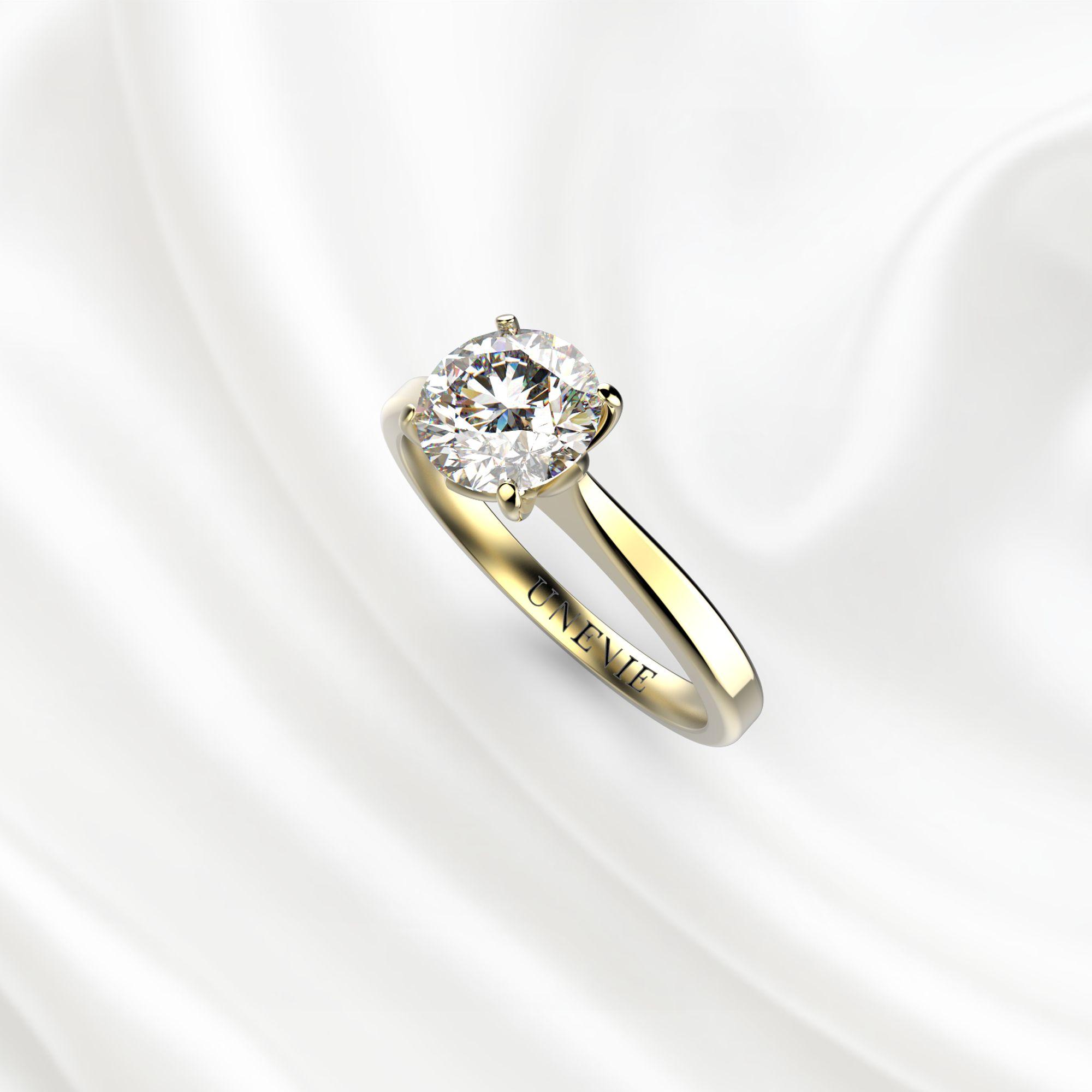 N16 Помолвочное кольцо из желтого золота с бриллиантом 0.45 карат